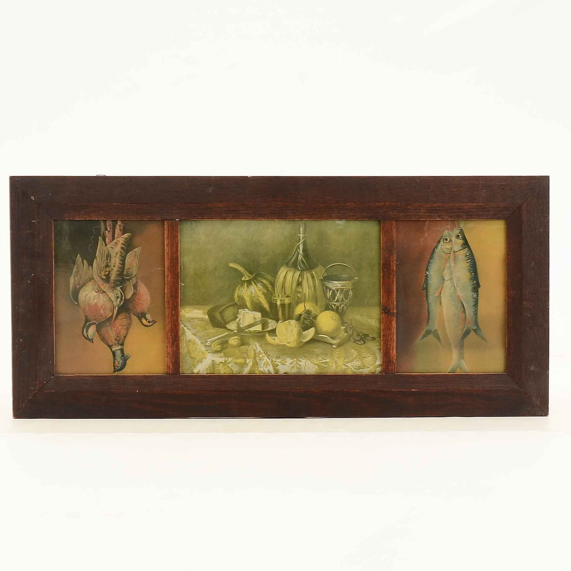 Vintage Still Life Chromolithograph Prints in Wood Frame