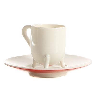 "Oscar Tusquets Blanca ""Victoria"" Porcelain Espresso Cup and Saucer"