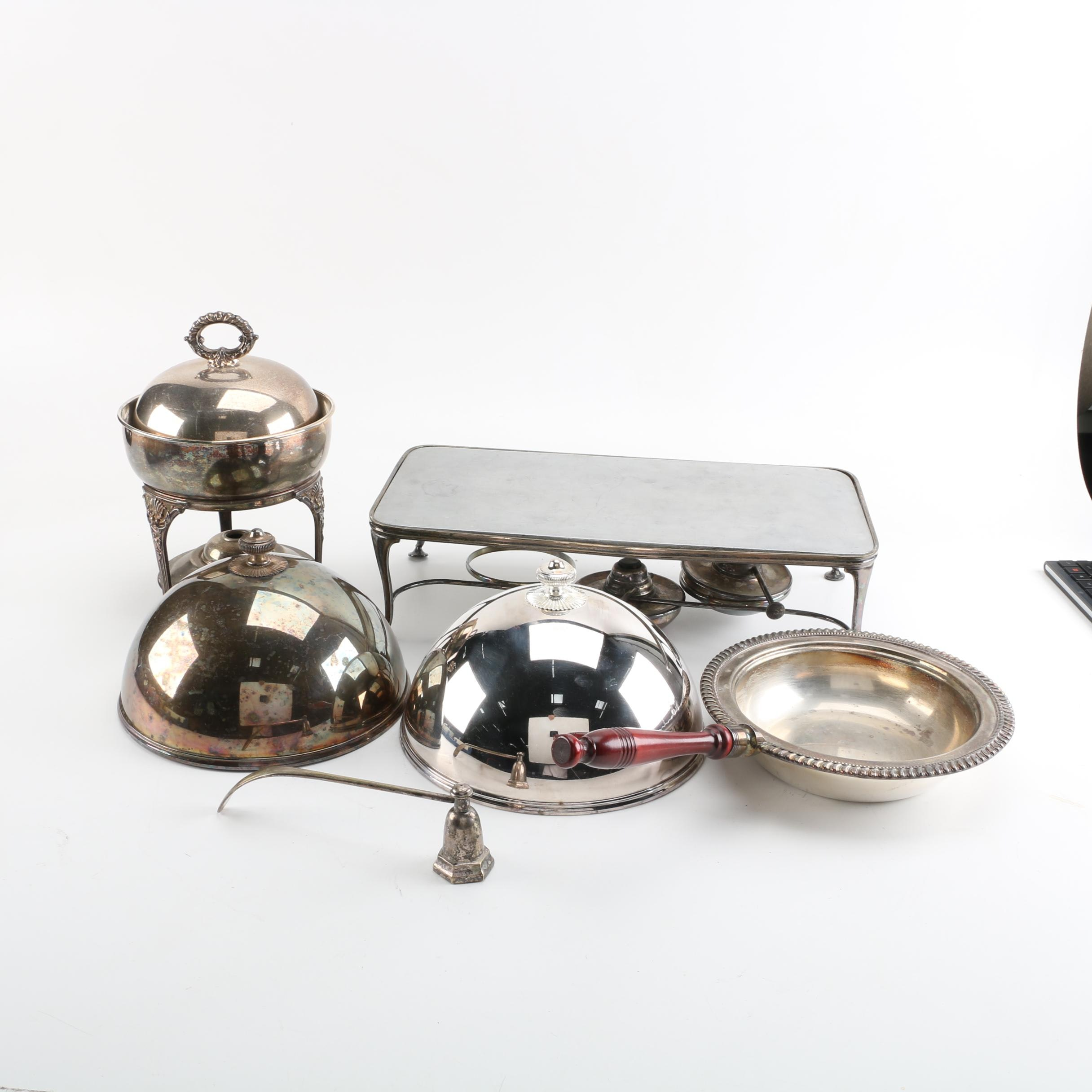 Hukin & Heath Chafing Dish Stand and Other Silver Plate Serveware