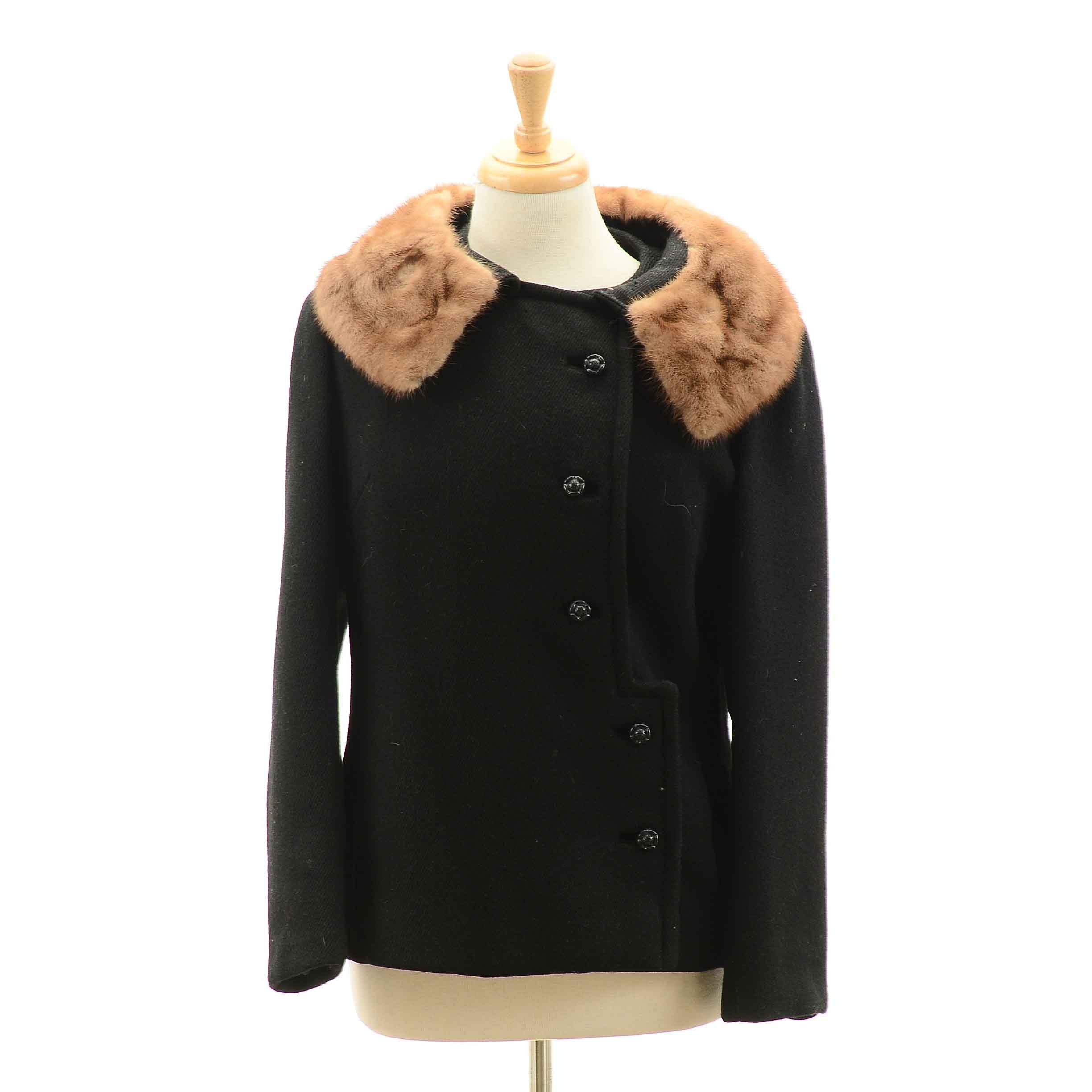 Women's Vintage B. Siegel Co. Black Wool Jacket With Mink Fur Collar