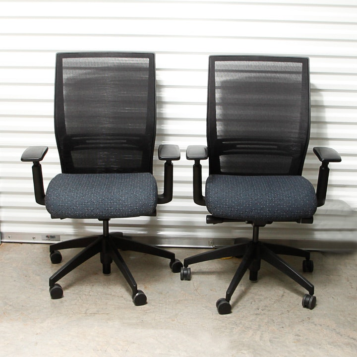 Two Matching Rolling Office Chairs