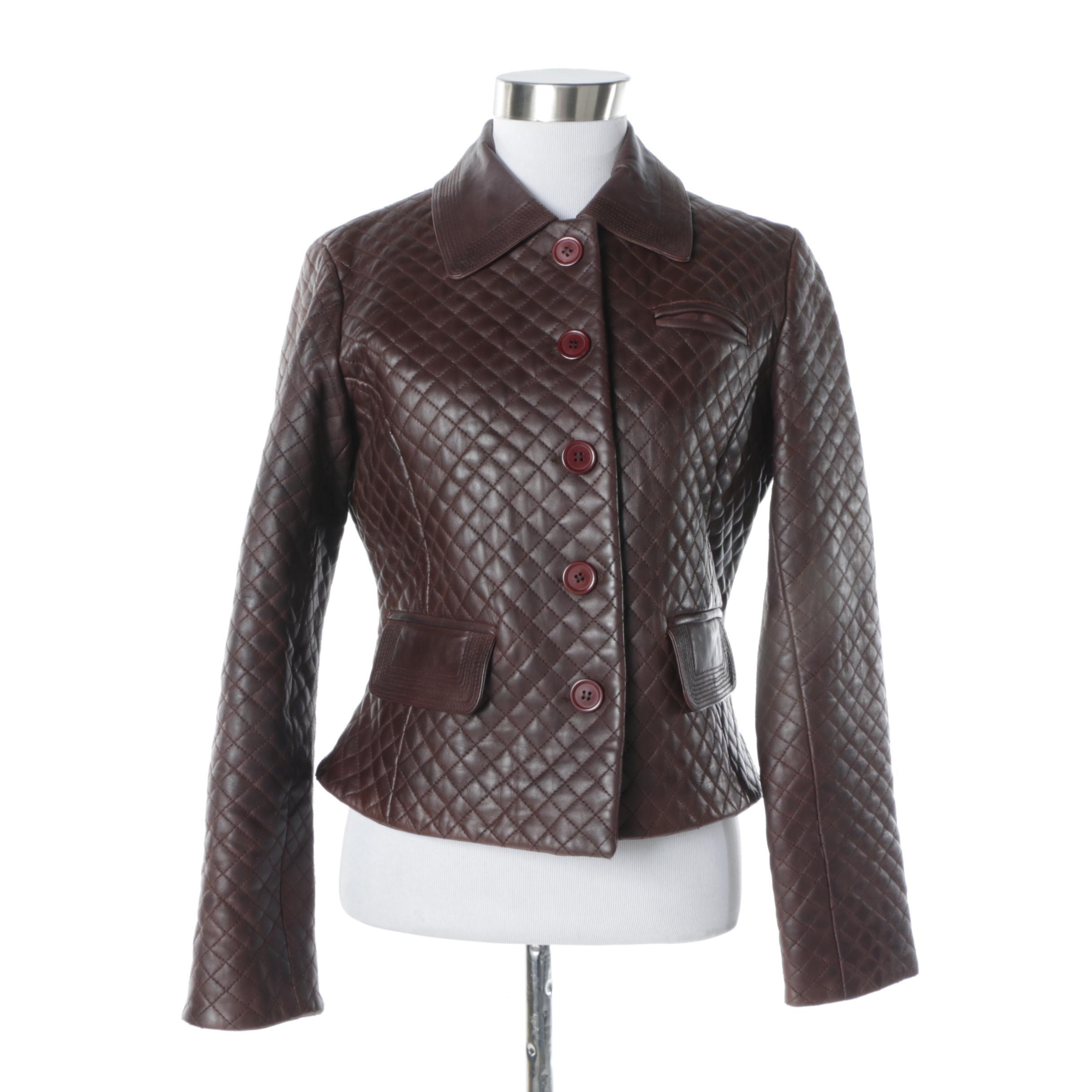 Women's Margaret Godfrey Dark Brown Quilted Leather Jacket