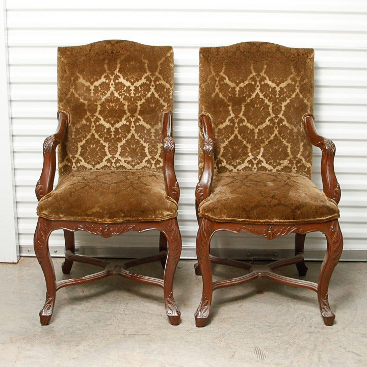 Louis XIV Style Upholstered Armchairs