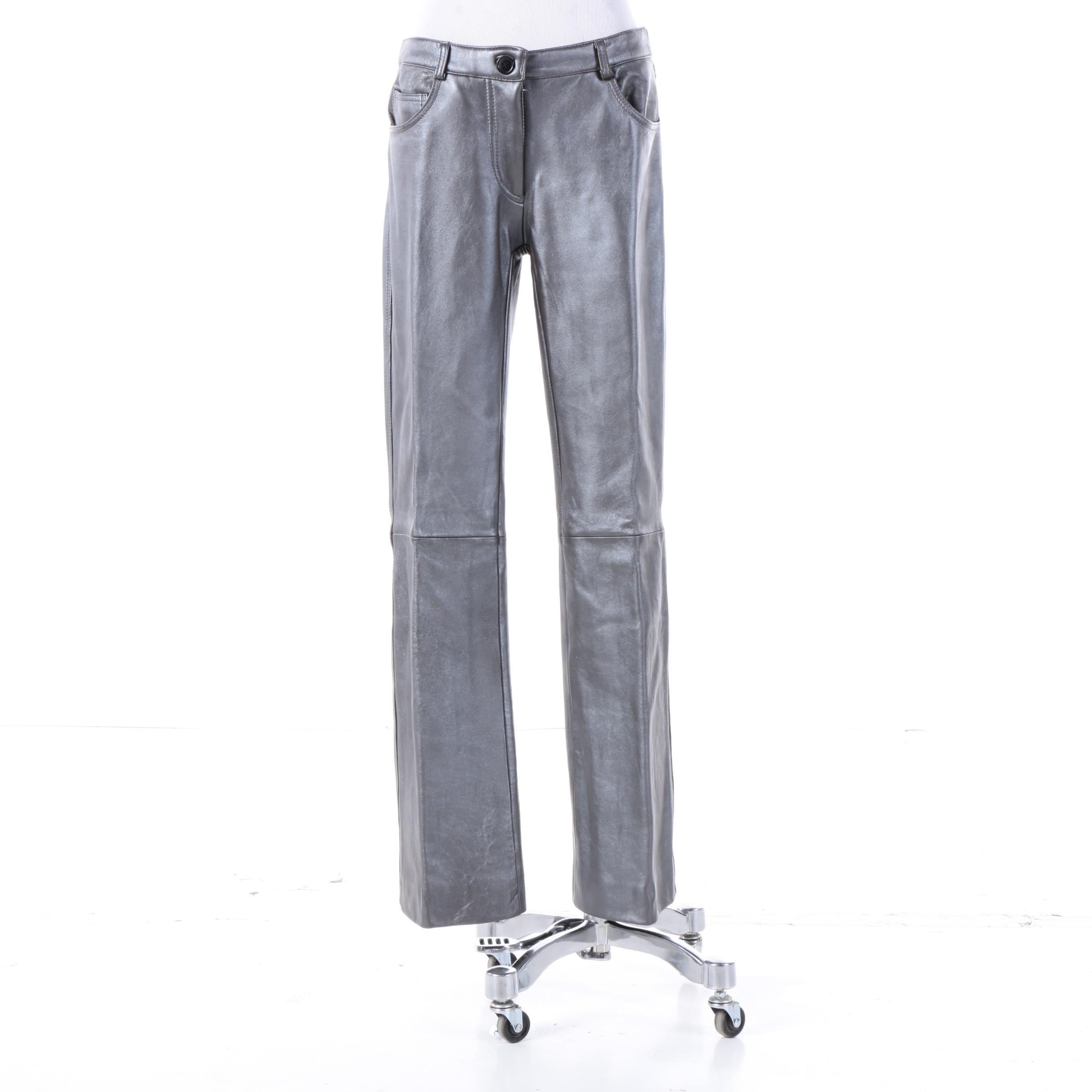 Sutton Studio Silver Tone Lambskin Leather Pants