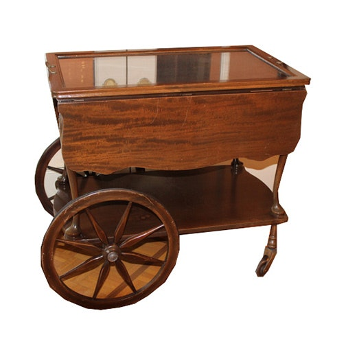 Vintage Drop Leaf Tea Cart with Tray Top