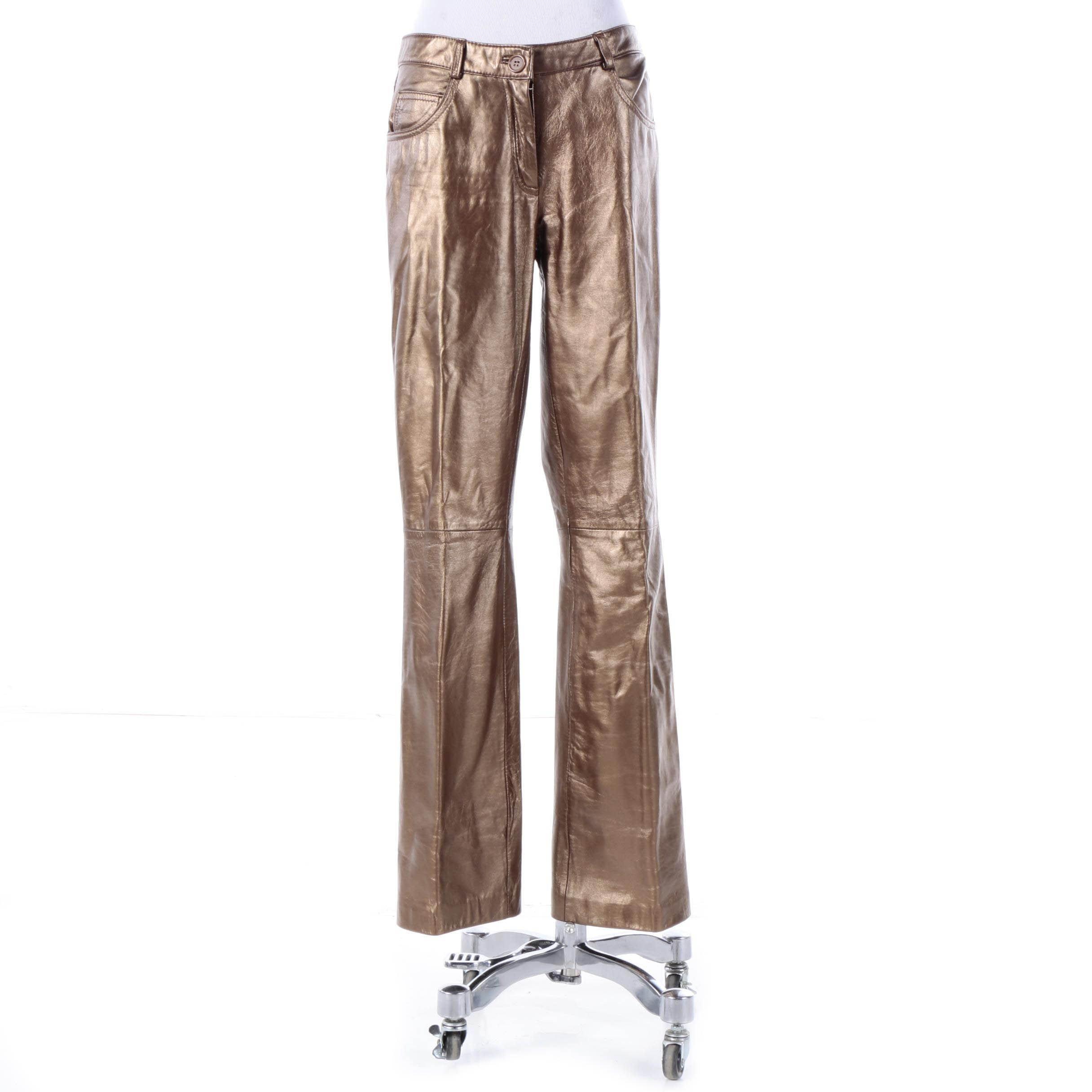 Sutton Studio Copper Tone Lambskin Leather Pants
