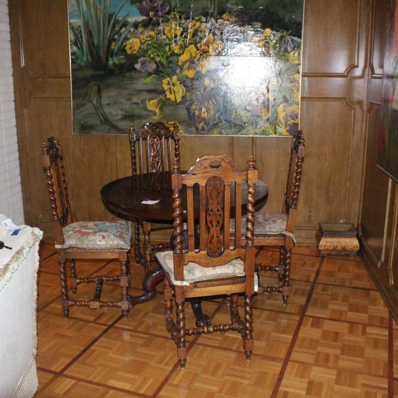 Dining Table With Four Barley Twist Chairs