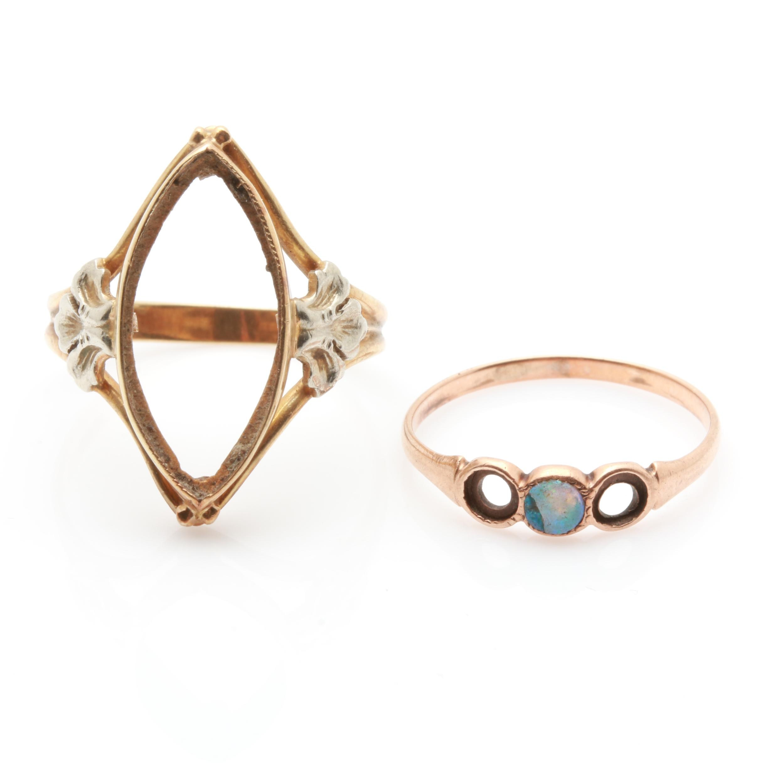 10K Yellow Gold Blank Mount Ring and 10K Rose Gold Opal Ring