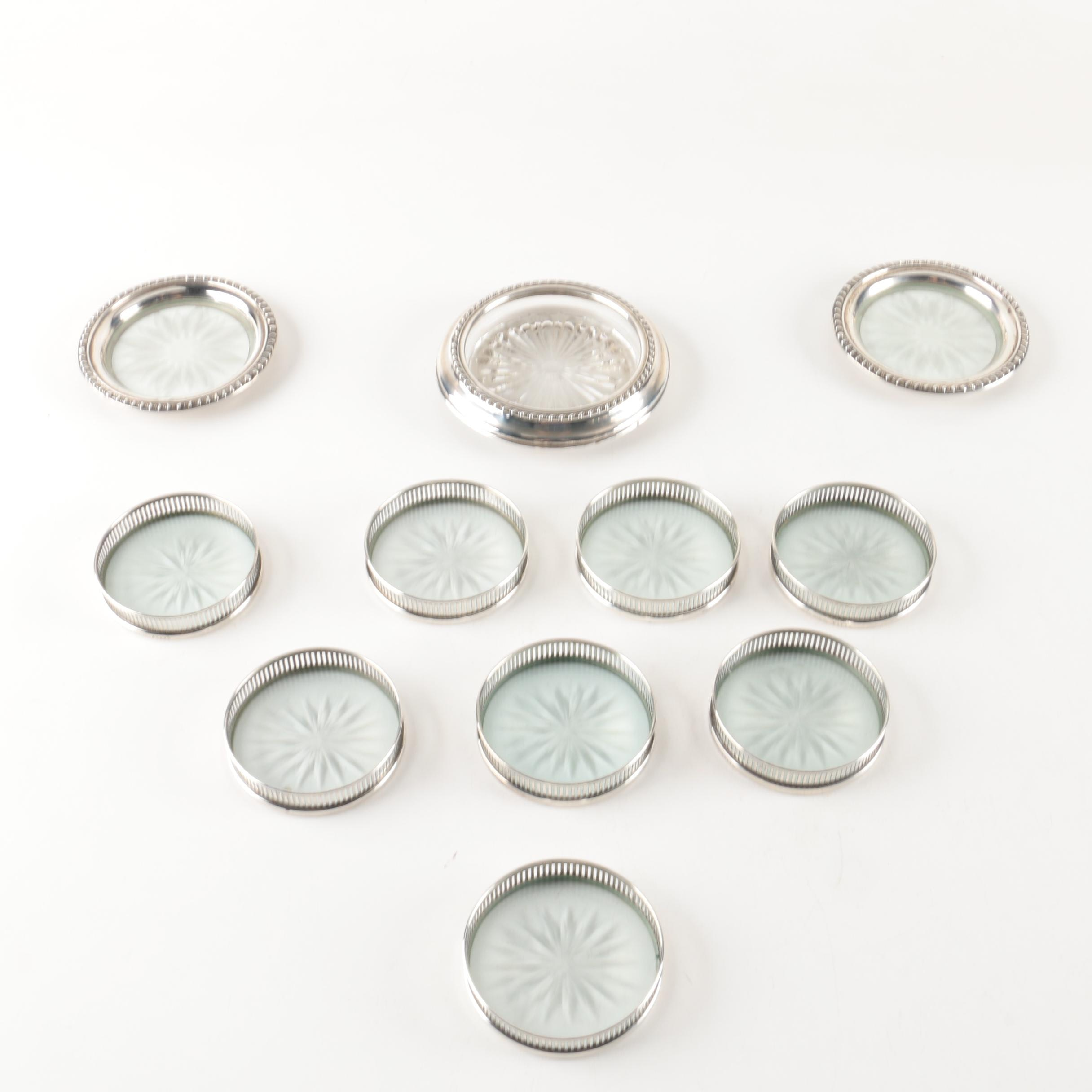 Sterling Silver and Pressed Glass Coasters