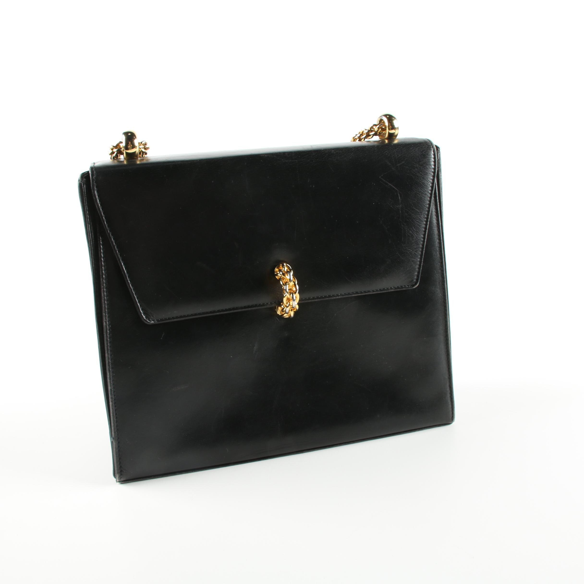 Vintage Paloma Picasso Black Leather Shoulder Bag