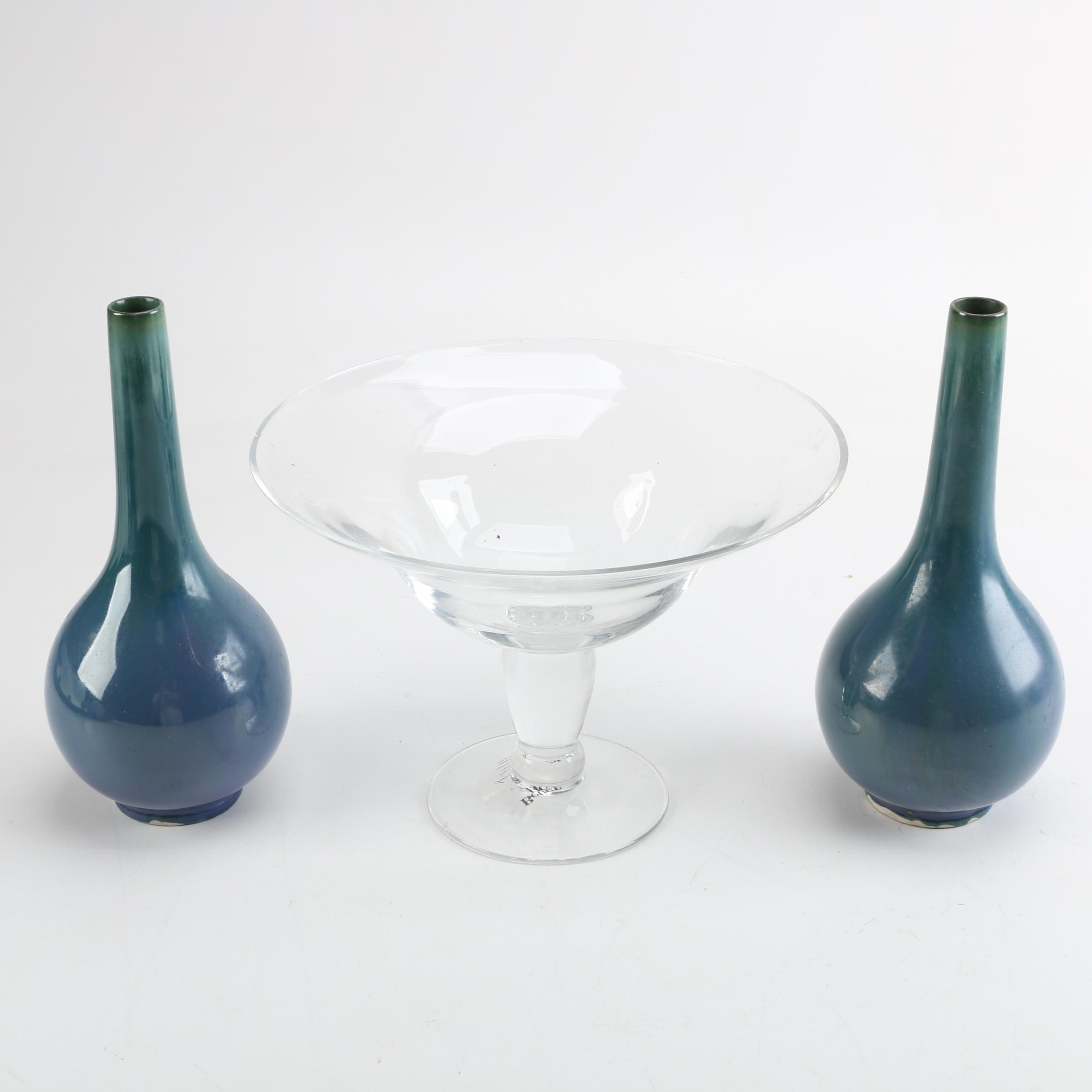 Better Homes and Gardens Footed Clear Glass Bowl and Two Ceramic Vases
