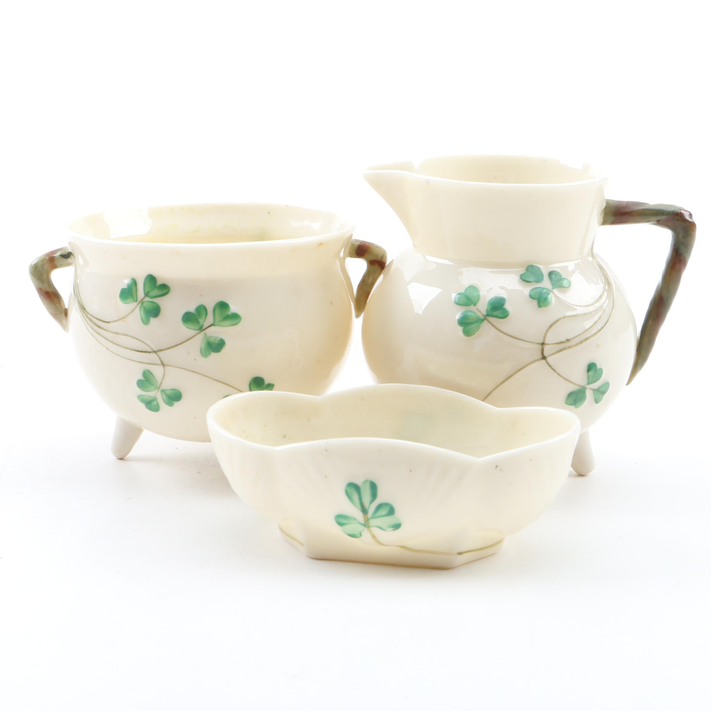 "Belleek ""Shamrock"" Footed Creamer Pitcher, Sugar Bowl and Oval Dish"