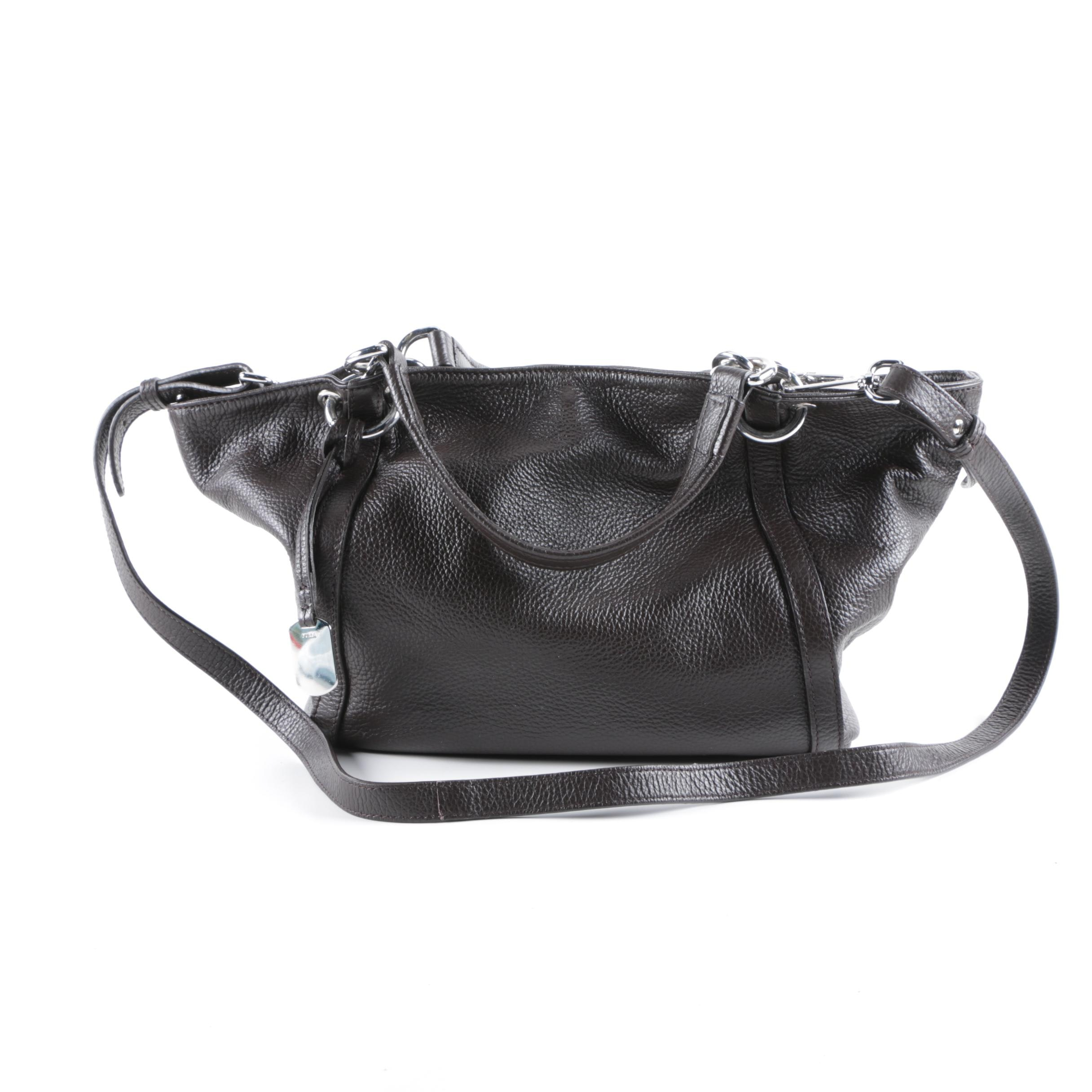 Furla Black Pebbled Leather Tote