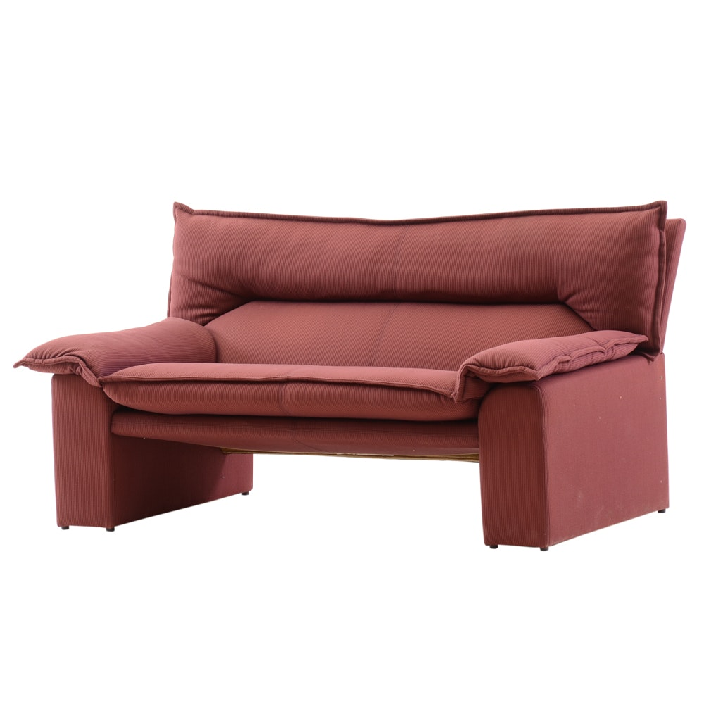 Burgundy Upholstered Loveseat