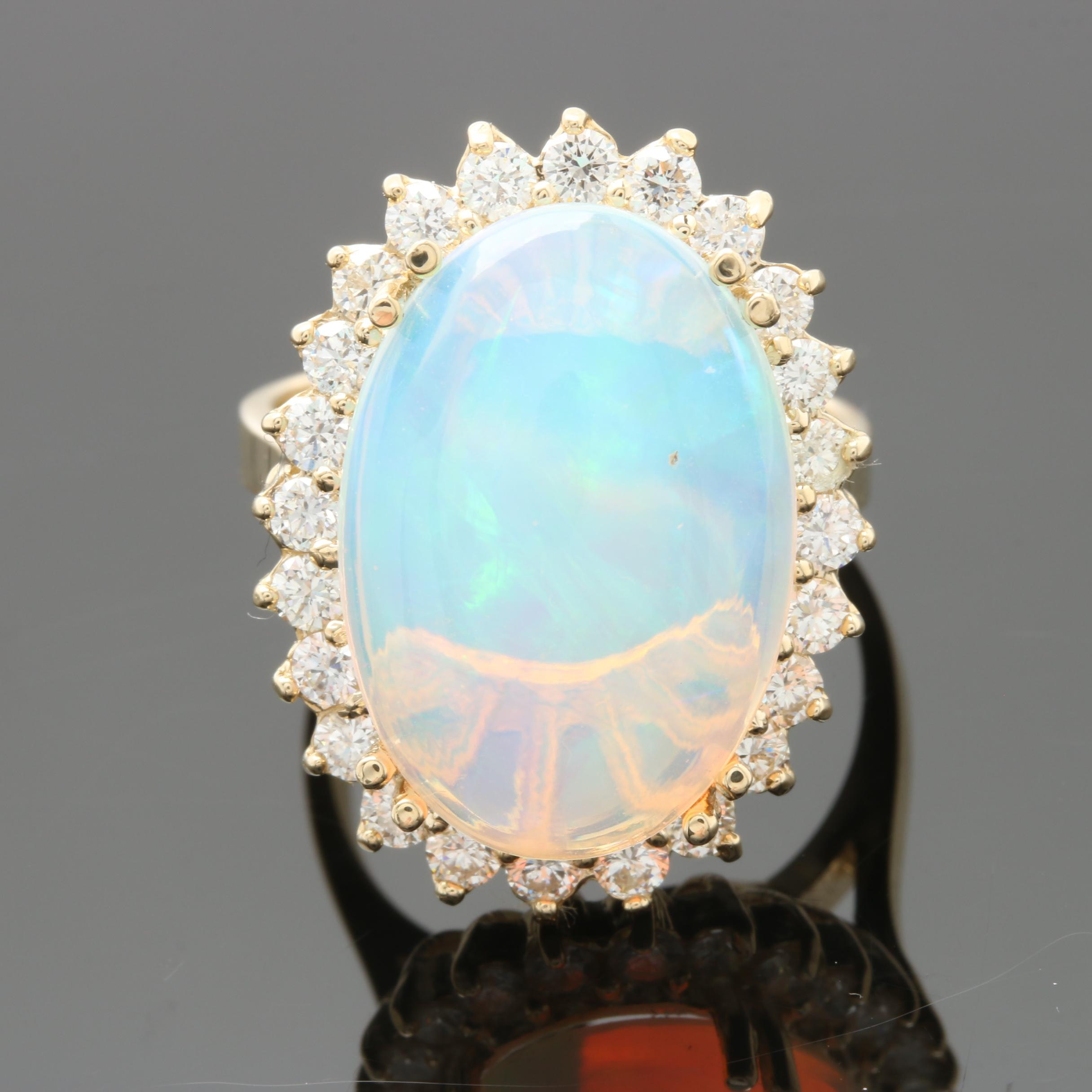 14K Yellow Gold 8.28 CT Opal and 0.96 CTW Diamond Halo Ring