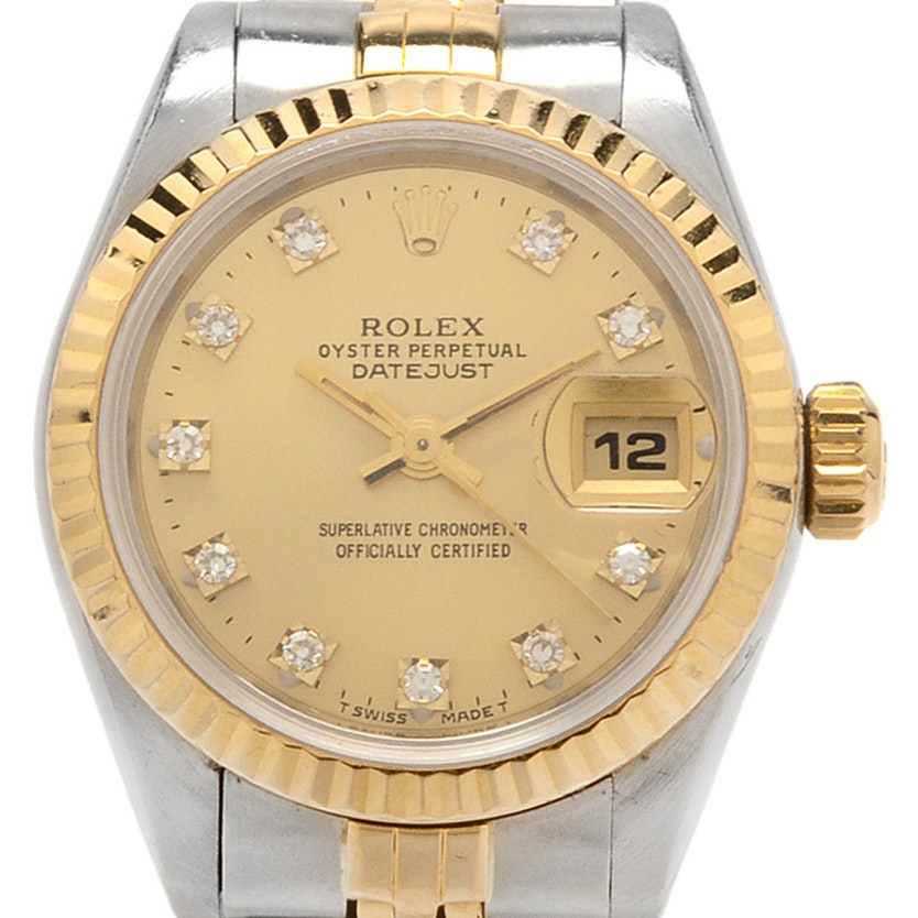 Rolex Datejust 18K Gold and Steel Factory Diamond Automatic Watch