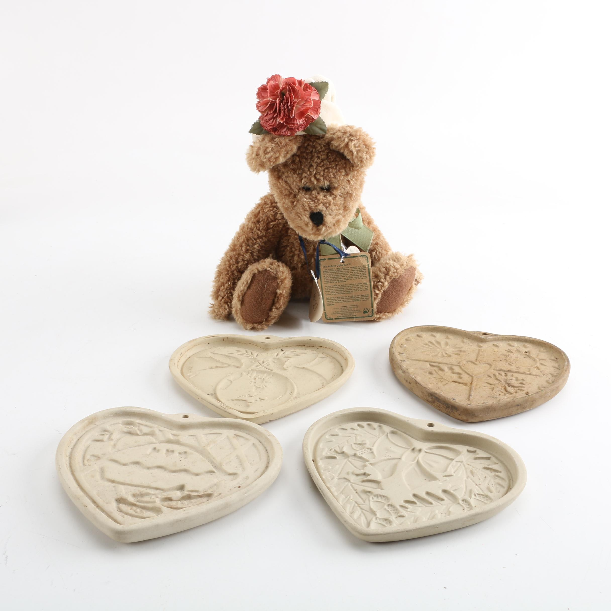 Vintage Pampered Chef Clay Cookie Molds and Boyds Bear