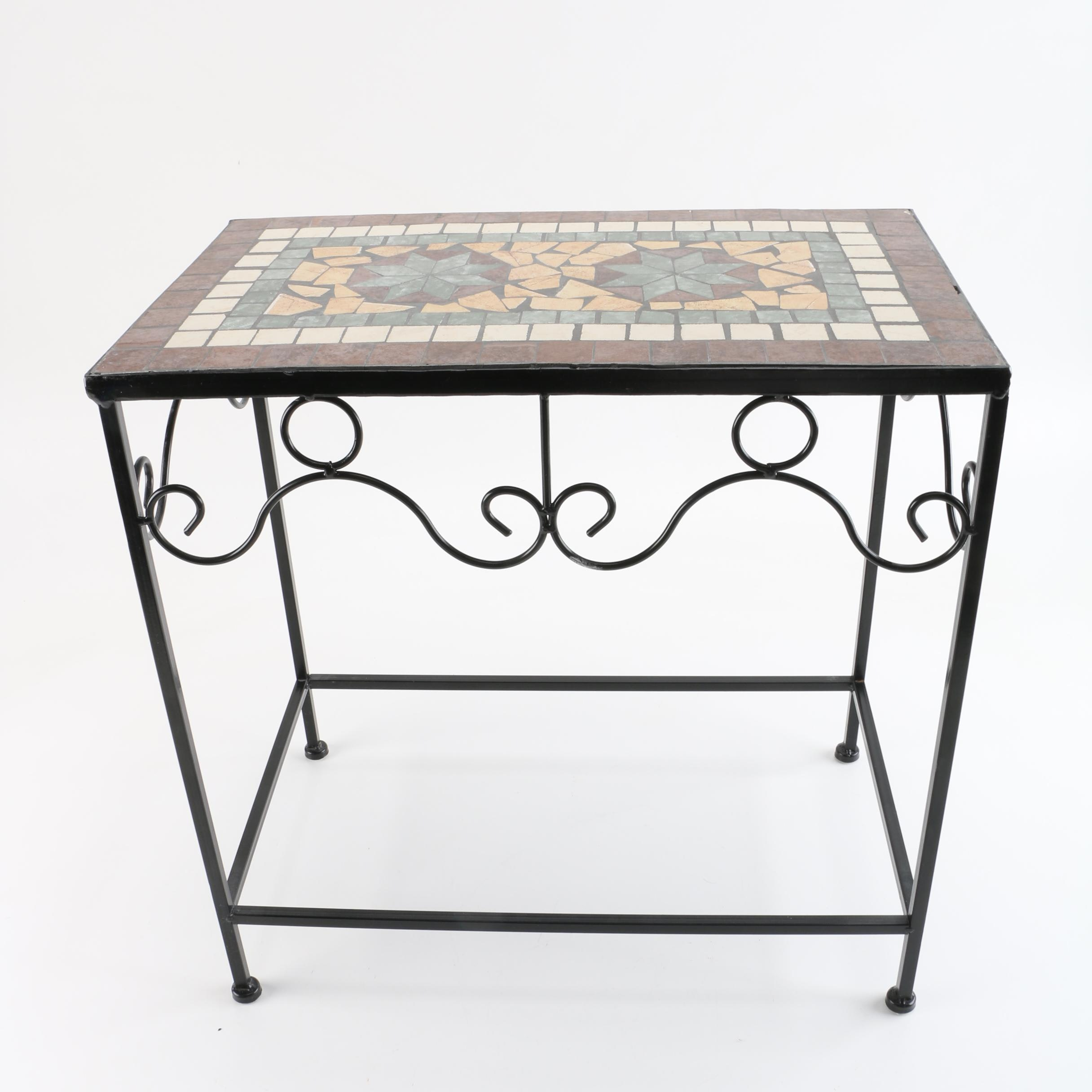 Mosaic Tile Top and Metal Side Table