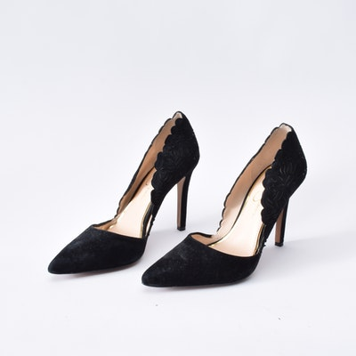1e93066a206 Jessica Simpson Black Suede D Orsay Pumps with Laser Cut Outs
