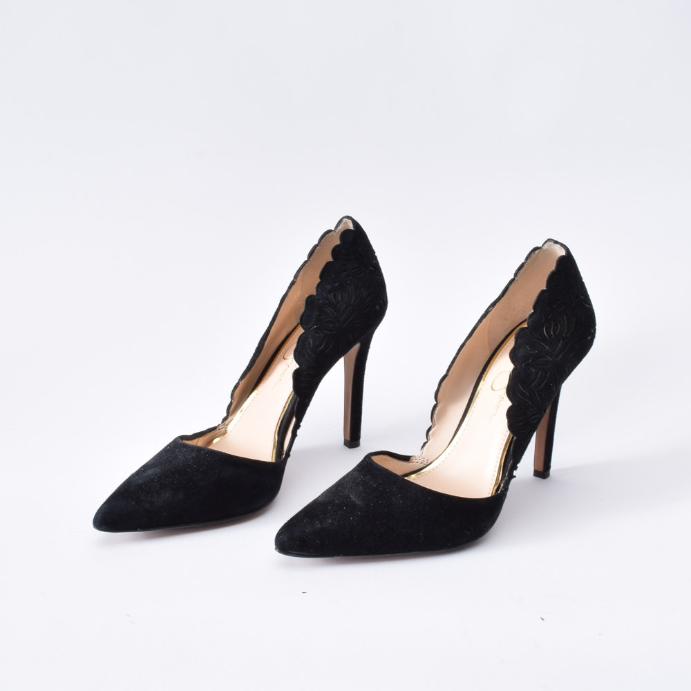 Jessica Simpson Black Suede D'Orsay Pumps with Laser Cut Outs