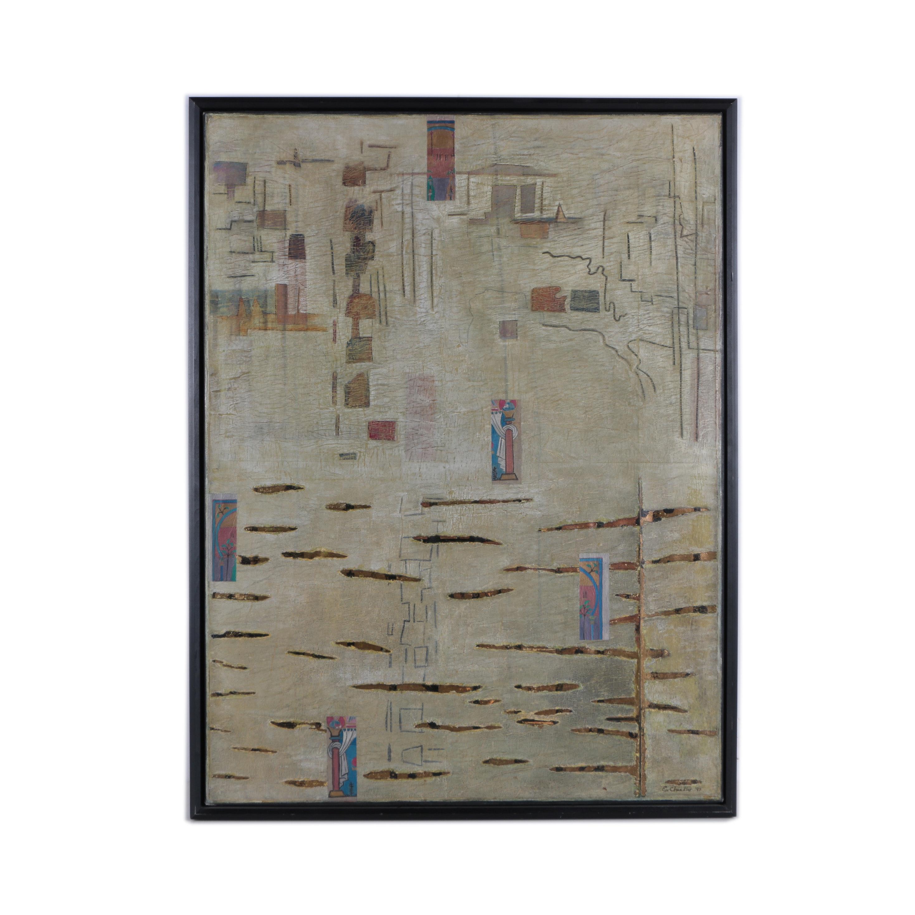 "Elizabeth Chandler Mixed Media Painting ""Continental Drift V"""