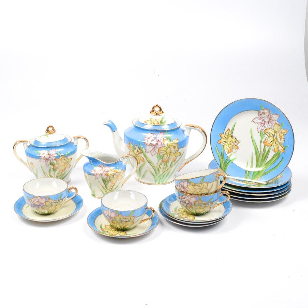Hand-Painted Japanese Moriyama Porcelain Tea Service
