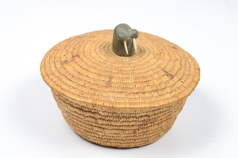 Canadian Inuit Basket with Soapstone Walrus Finial