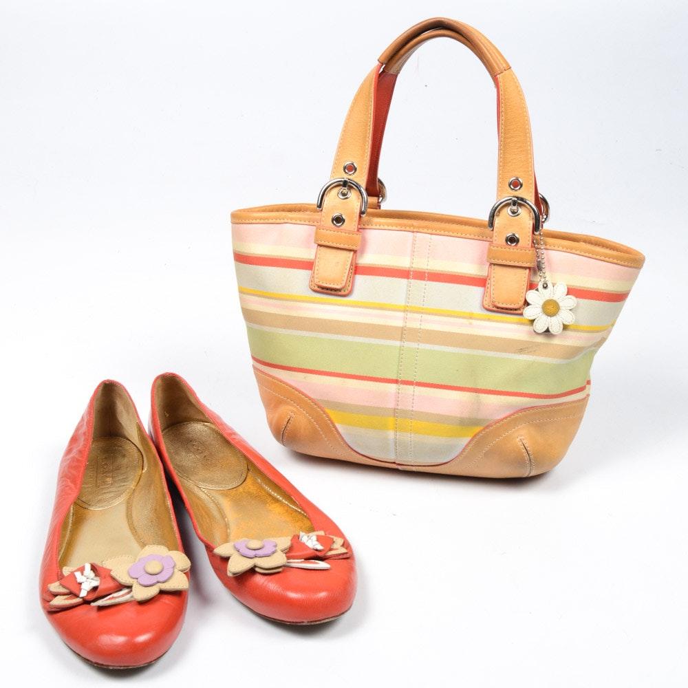 Coach Hampton Multi-Stripe Daisy Soho Handbag and Shoes