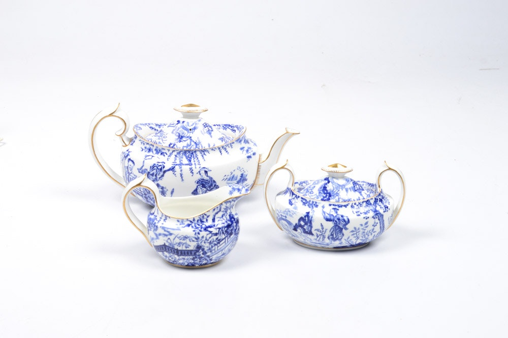 "Royal Crown Derby ""Blue Mikado"" Tea Set"