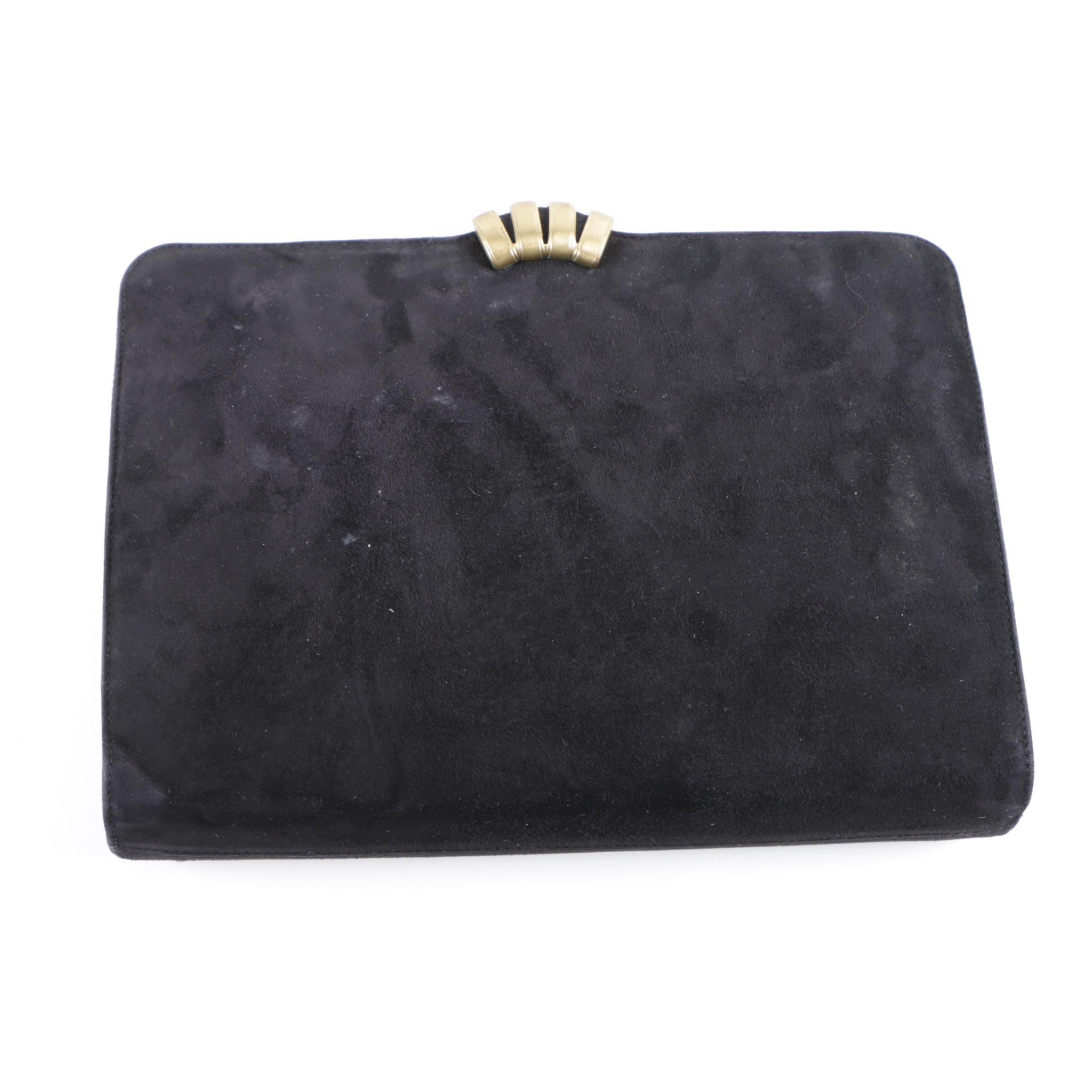 Circa 1980s Vintage Salvatore Ferragamo Black Suede Clutch Handbag