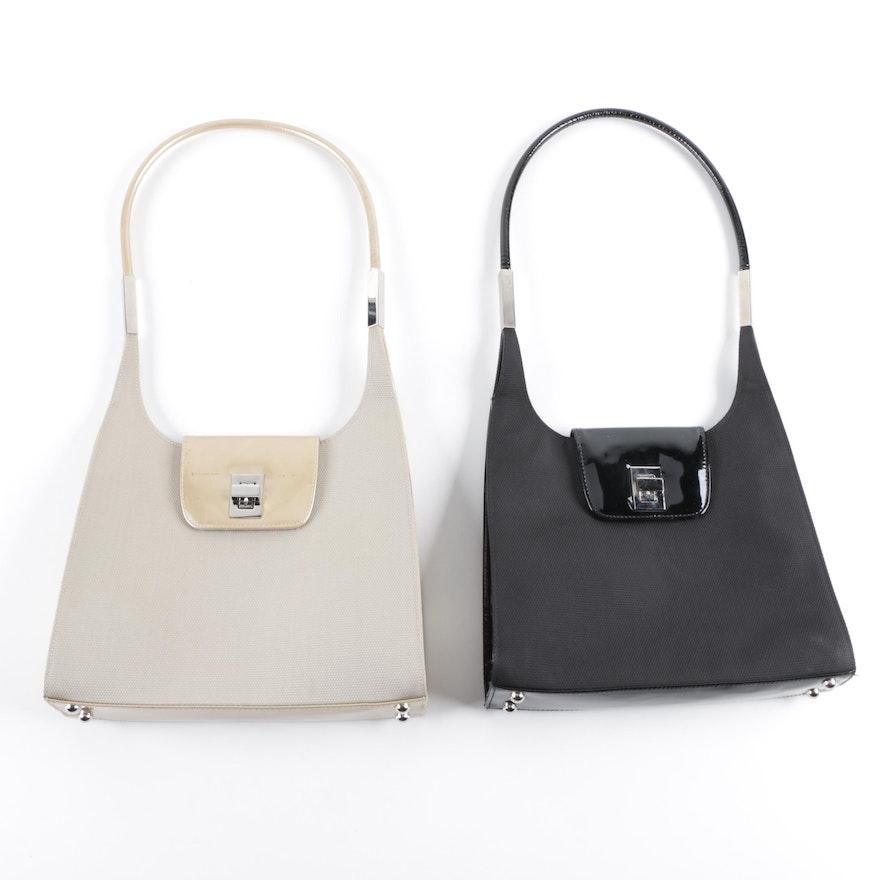 Stuart Weitzman Patent Leather and Canvas Handbags   EBTH b3485d7321