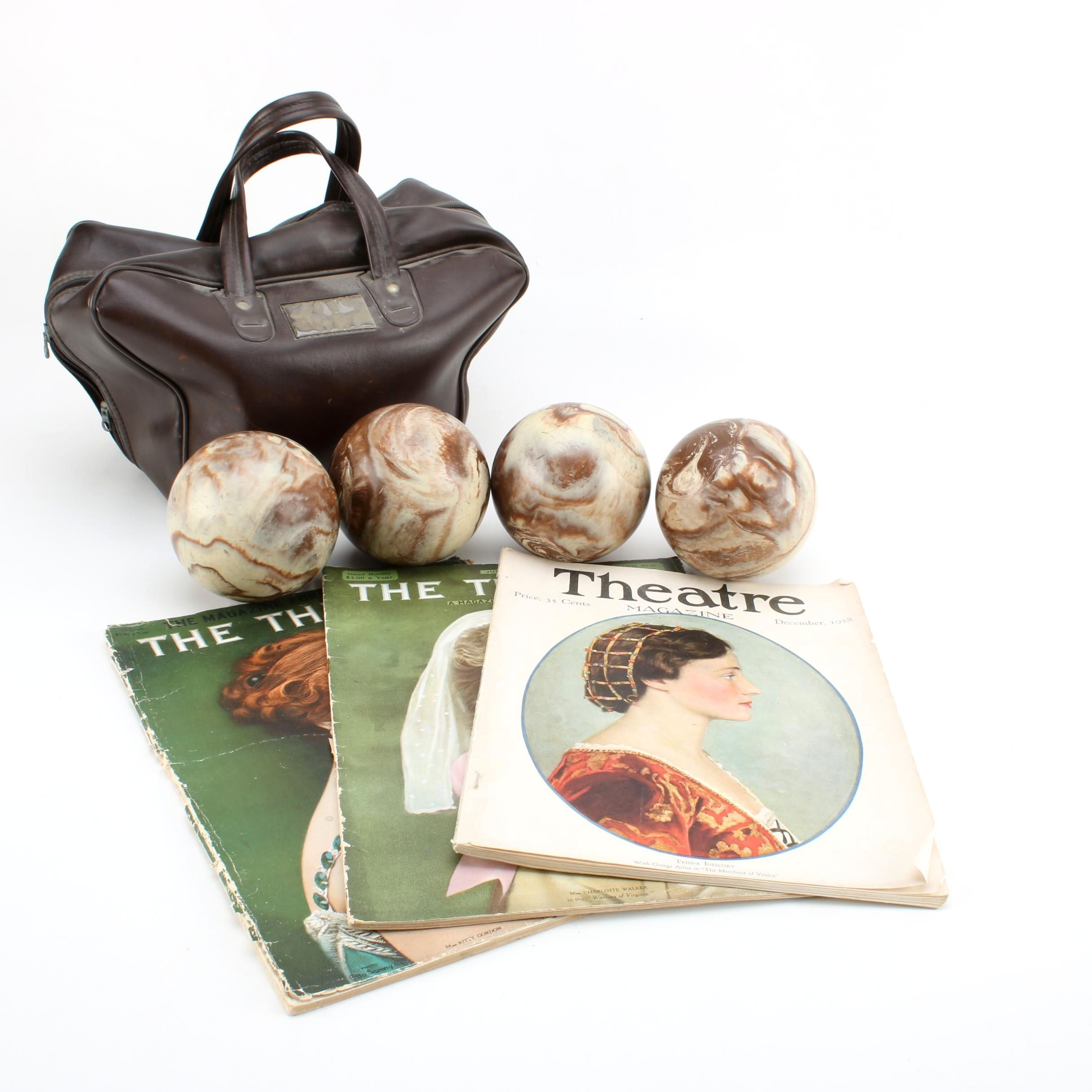 """Antique """"The Theatre"""" Magazines with Vintage Bocce Ball Set"""