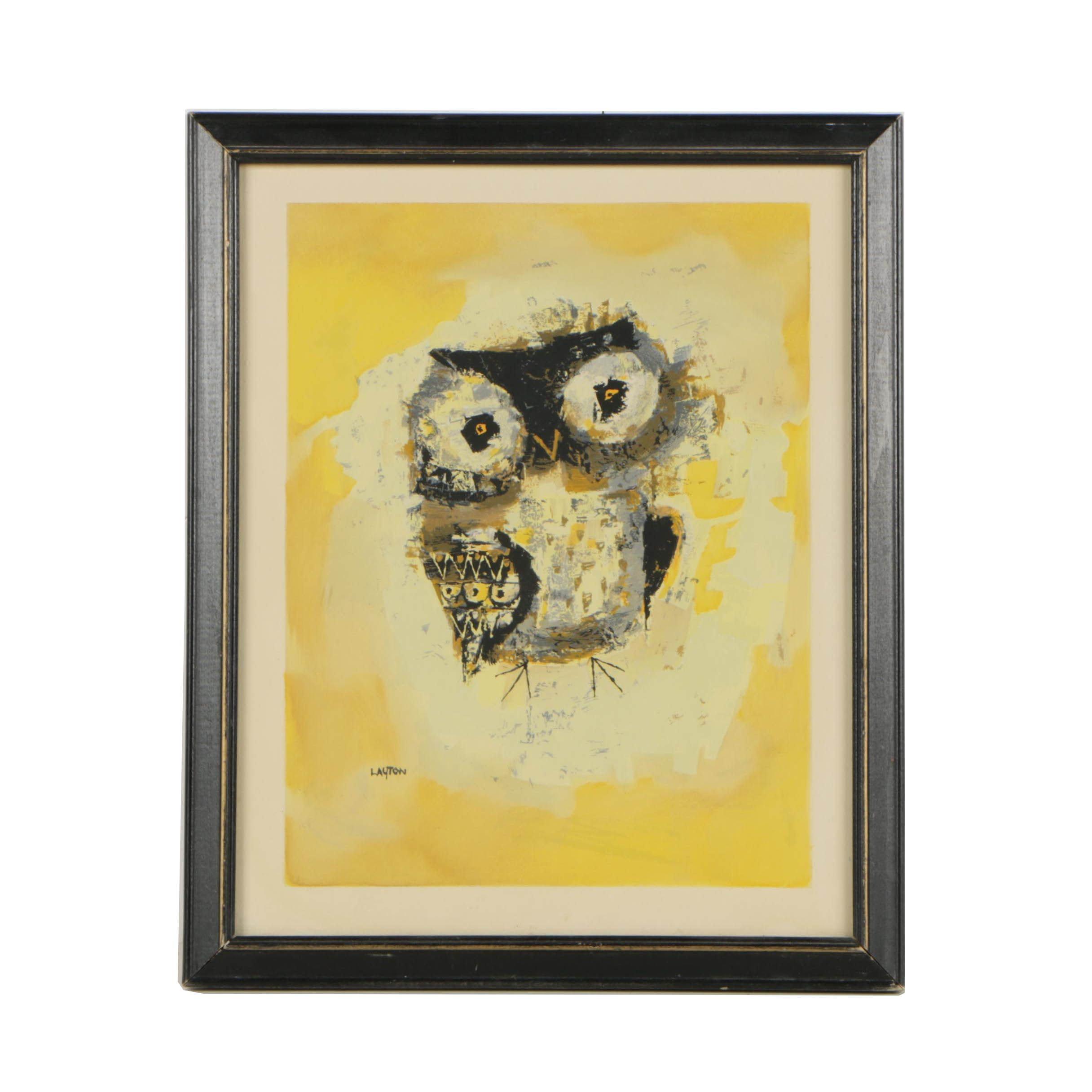 "Margaret Layton Mid-Century Serigraph Owl Portrait ""Blinky"""