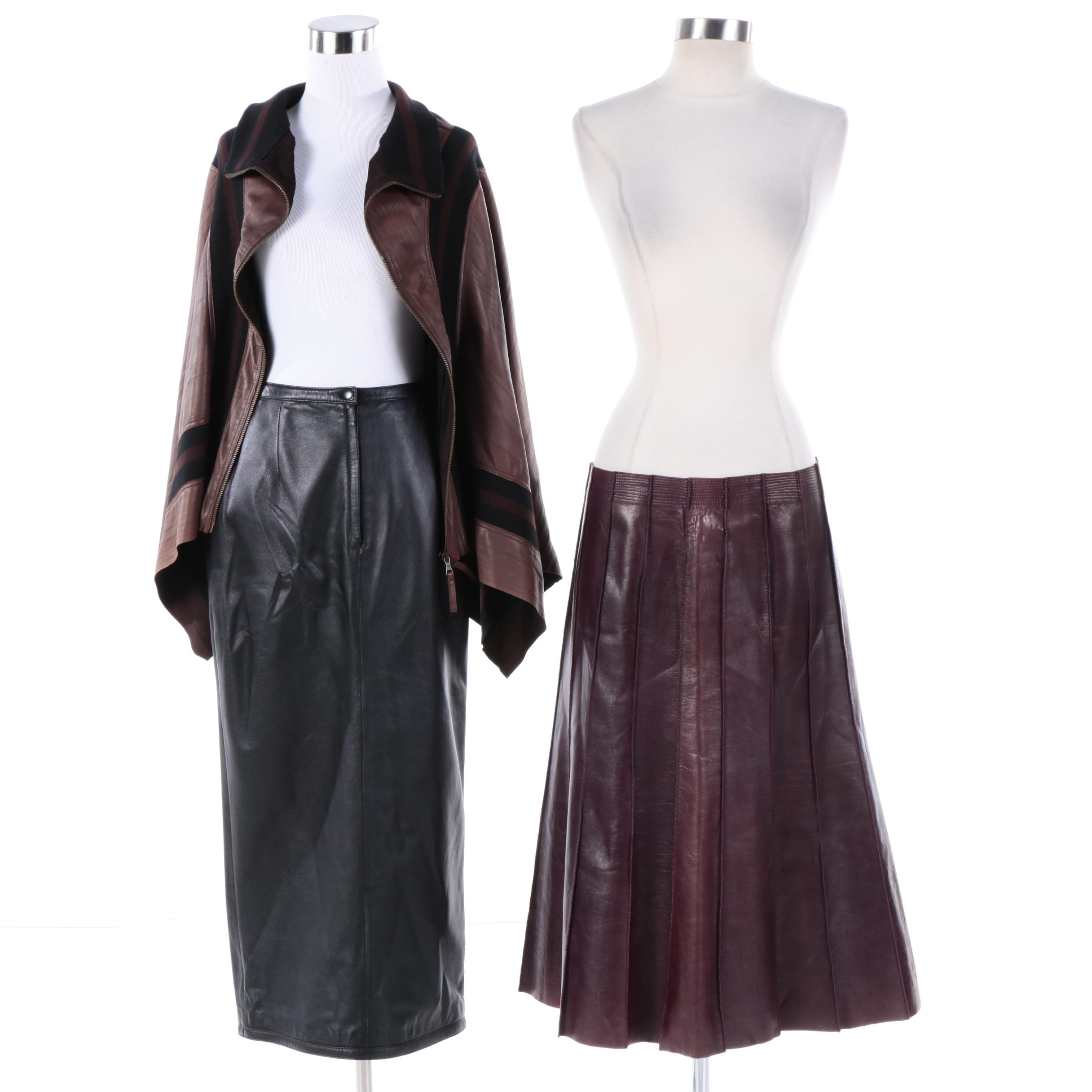 Women's Leather Cape Coat and Skirts Including Jean Paul Gaultier and Anne Klein