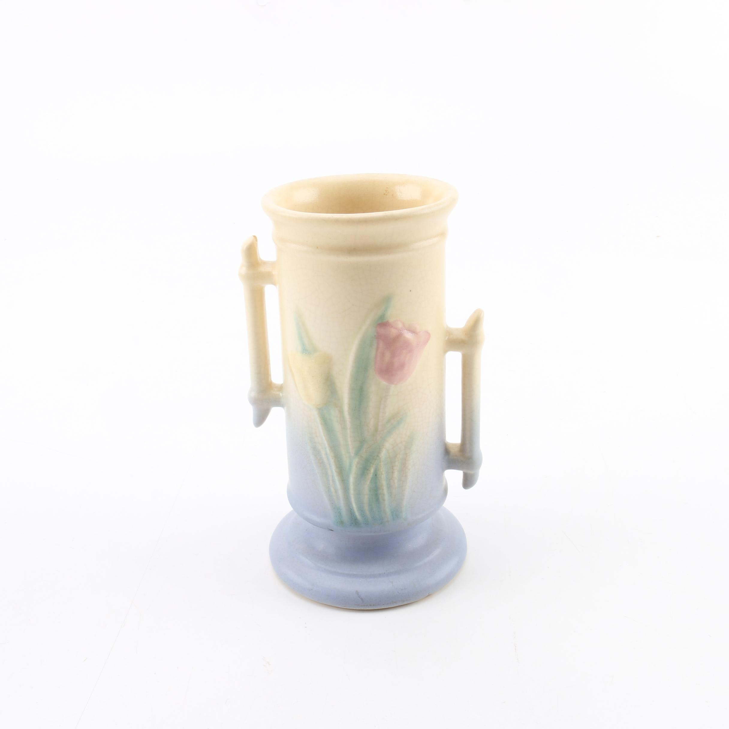 """Vintage Hull Pottery """"Sueno Tulip"""" Pattern Yellow and Blue Vase"""