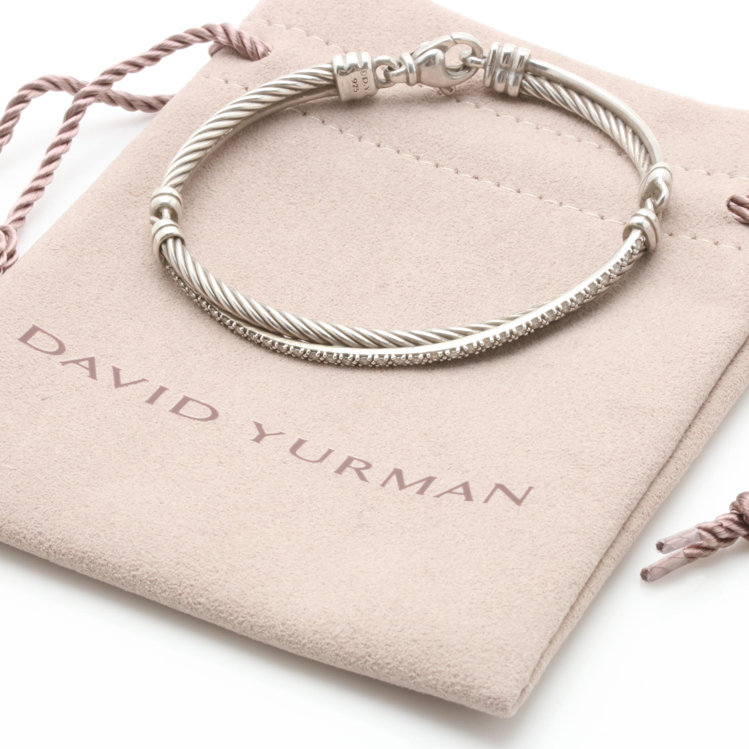 David Yurman Sterling Silver Diamond Bracelet