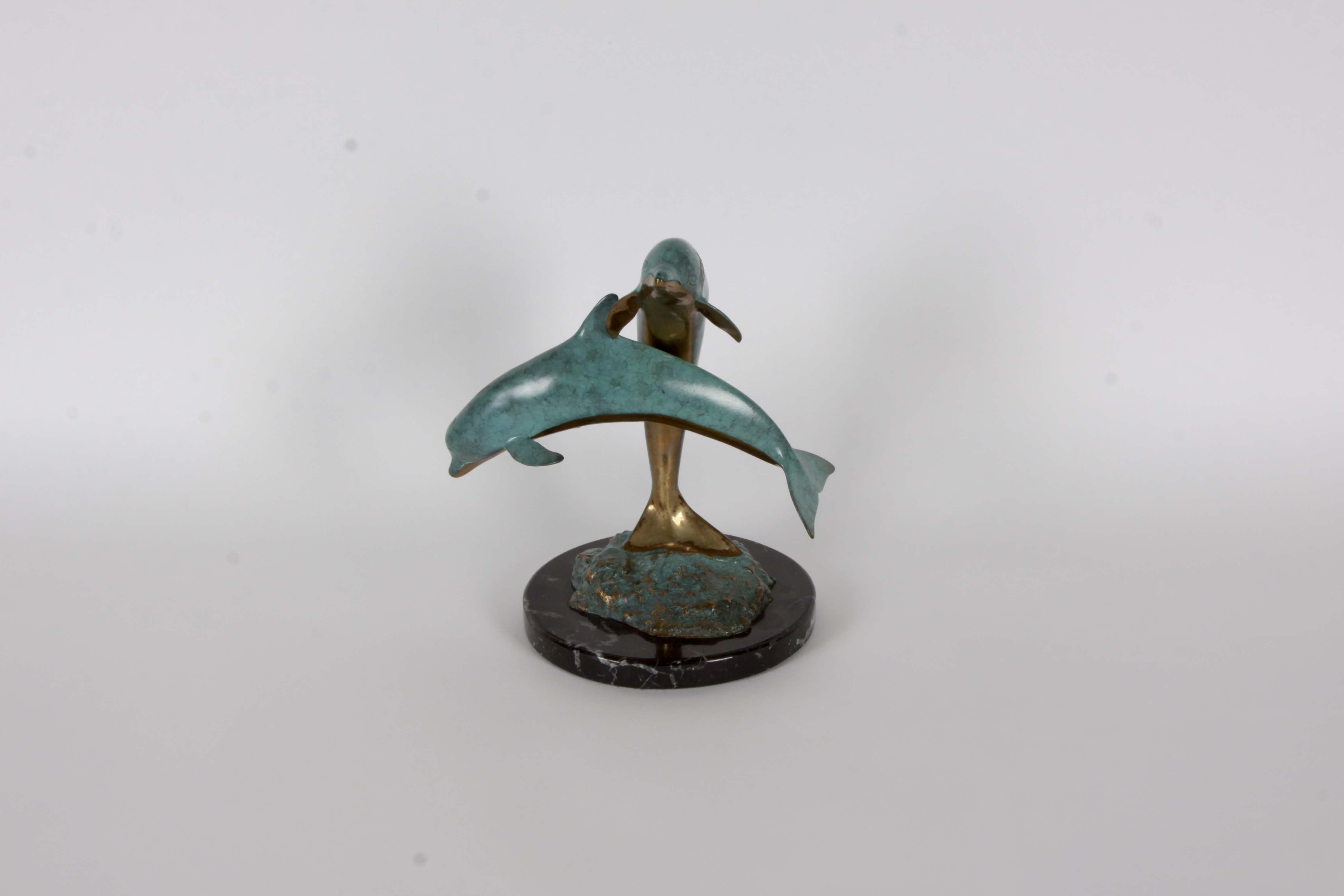 Robert Wyland Signed Bronze Dolphin Sculpture
