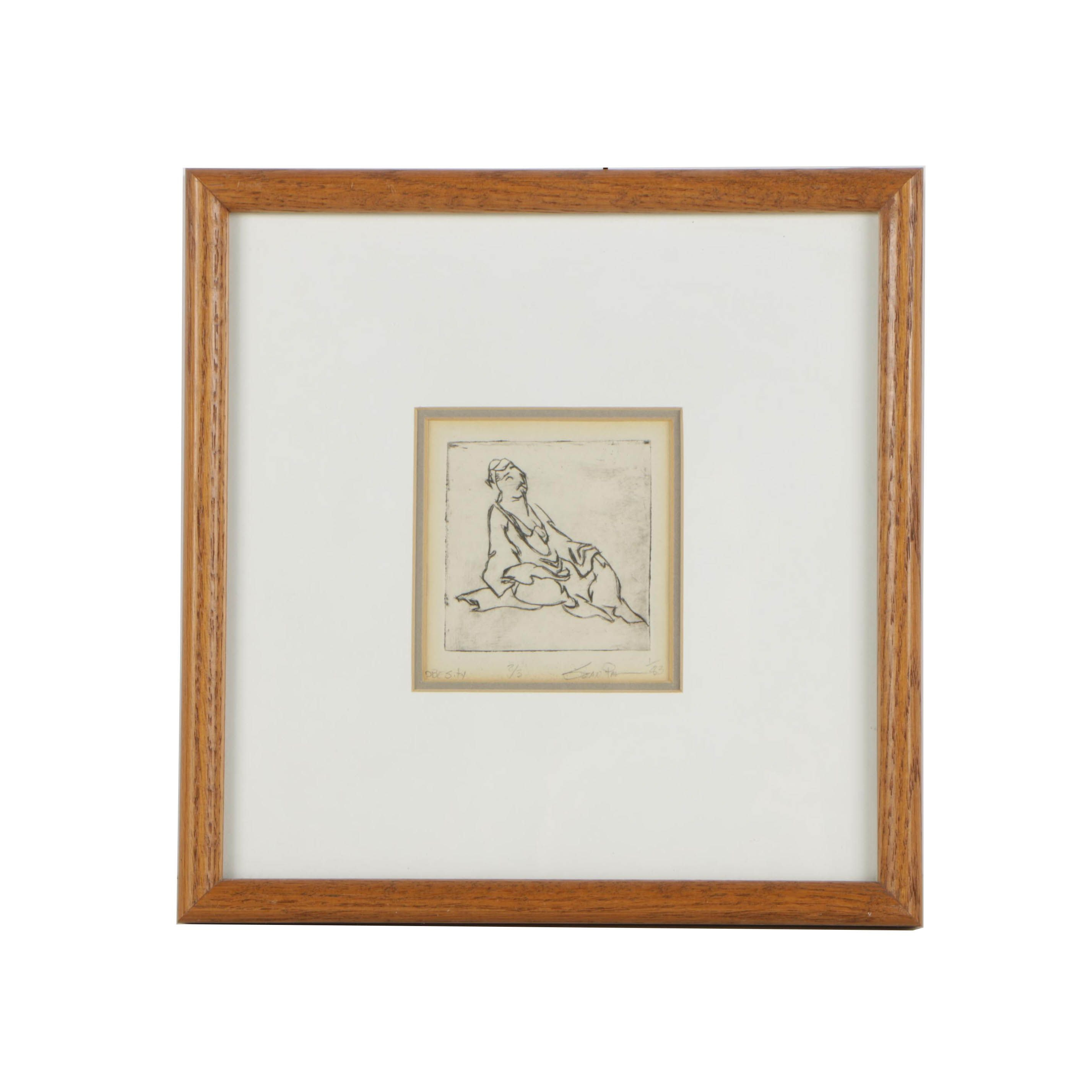 "1983 Miniature Figural Etching ""Obesity"""