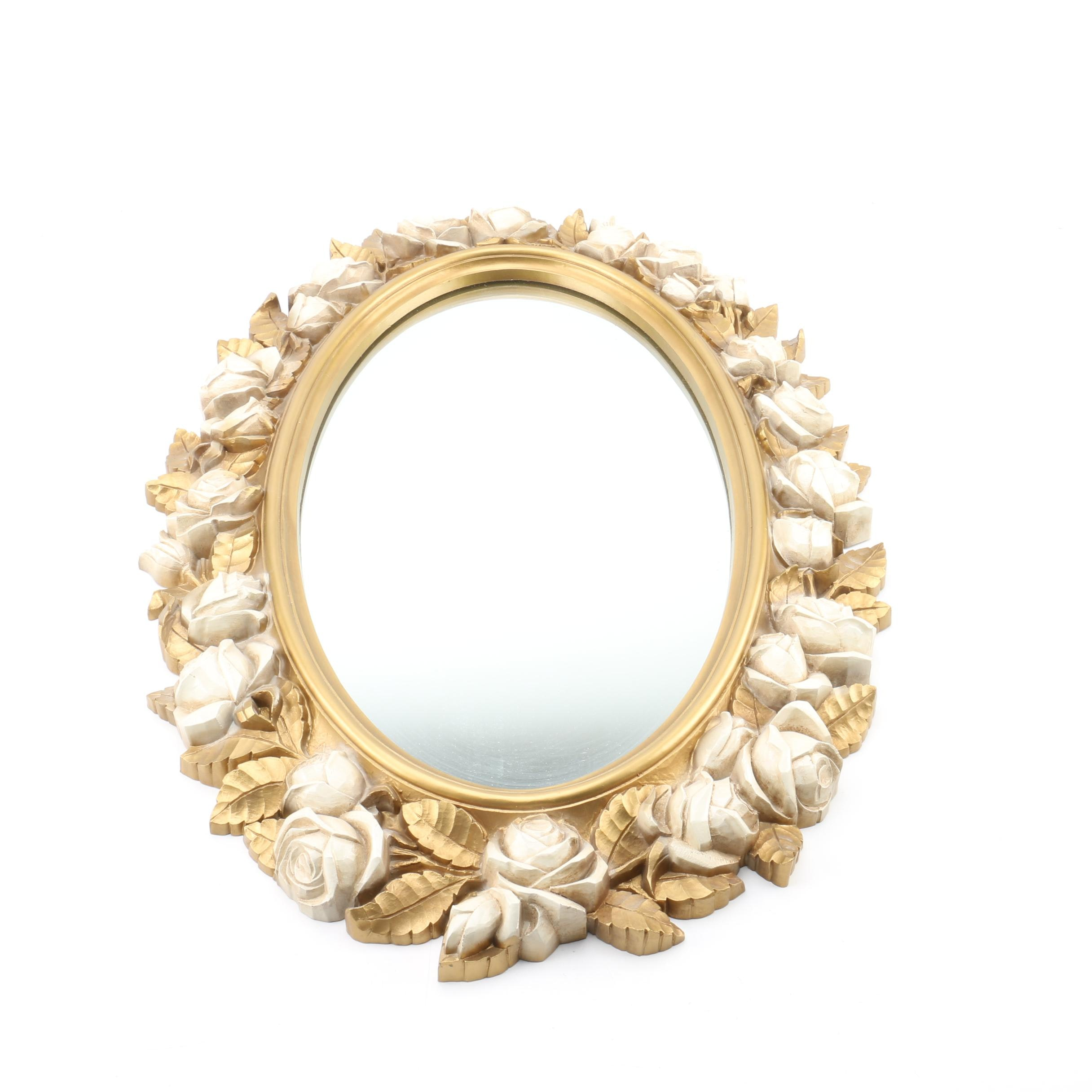 Oval Wall Mirror with Rose Frame