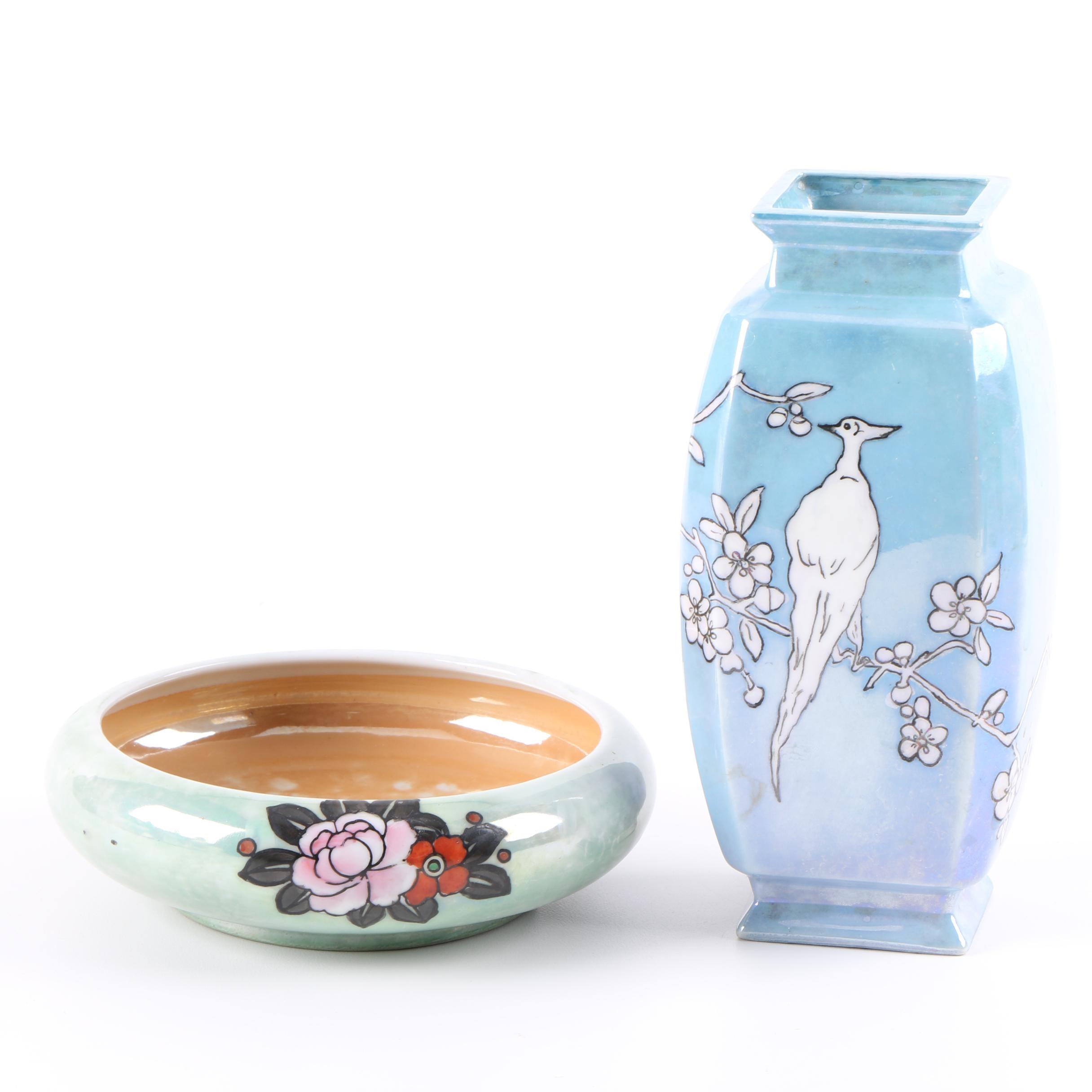 Hand-Painted Japanese Vase and Brush Washer