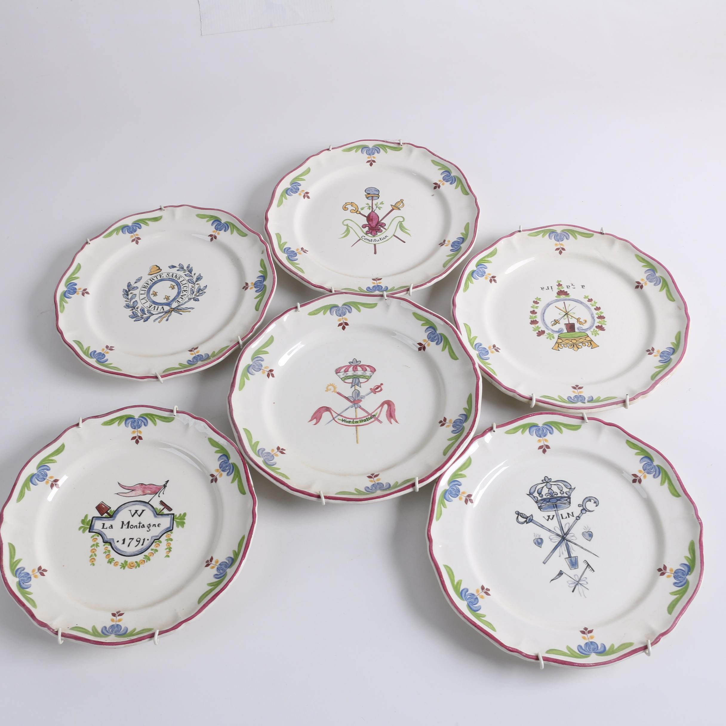 St. Amand French Faience Plates Featuring French Revolution Crests