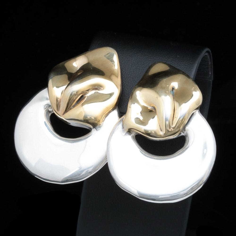 Two-Tone Sterling Silver Clip On Earrings