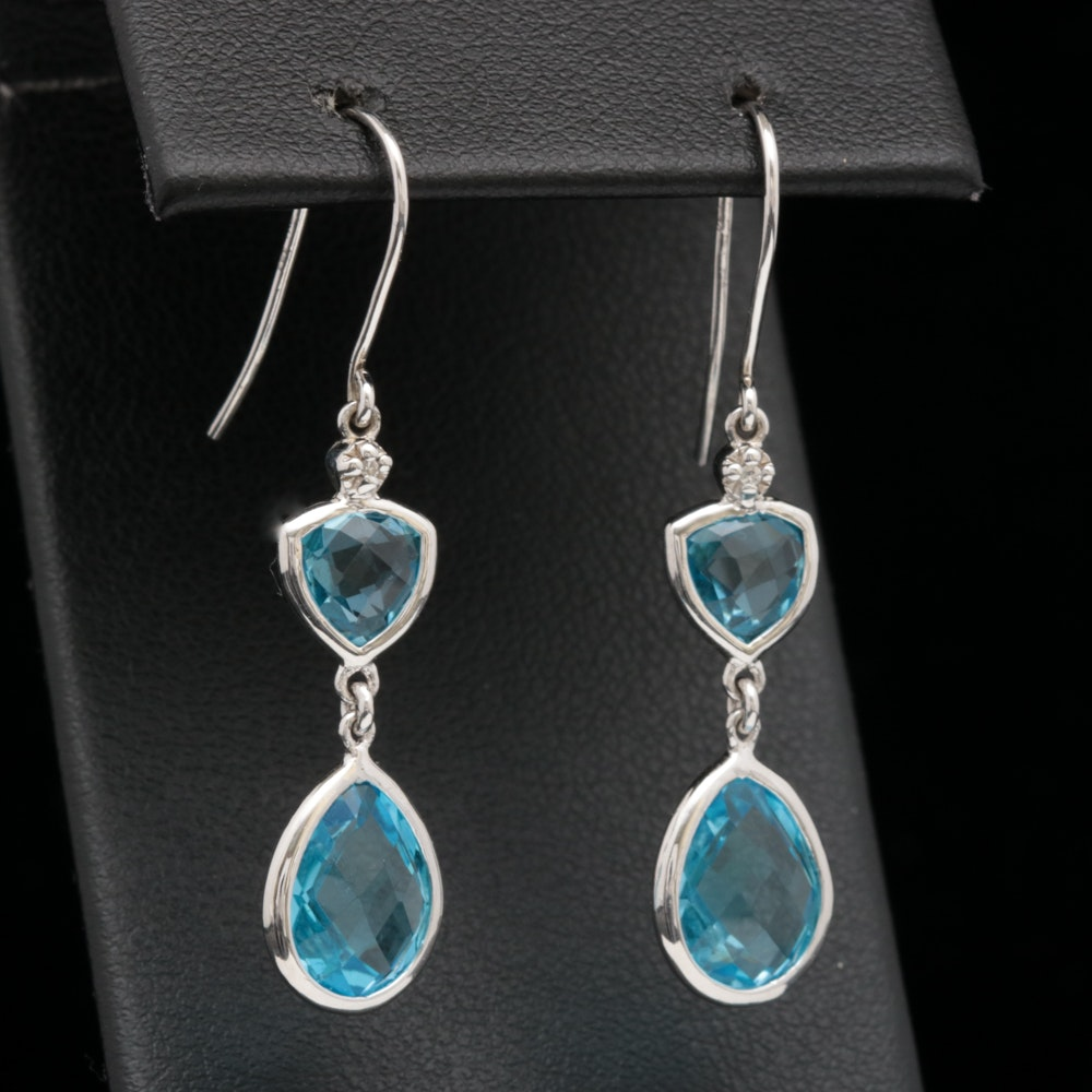 Sterling Silver, Blue Topaz and Diamond Dangle Earrings