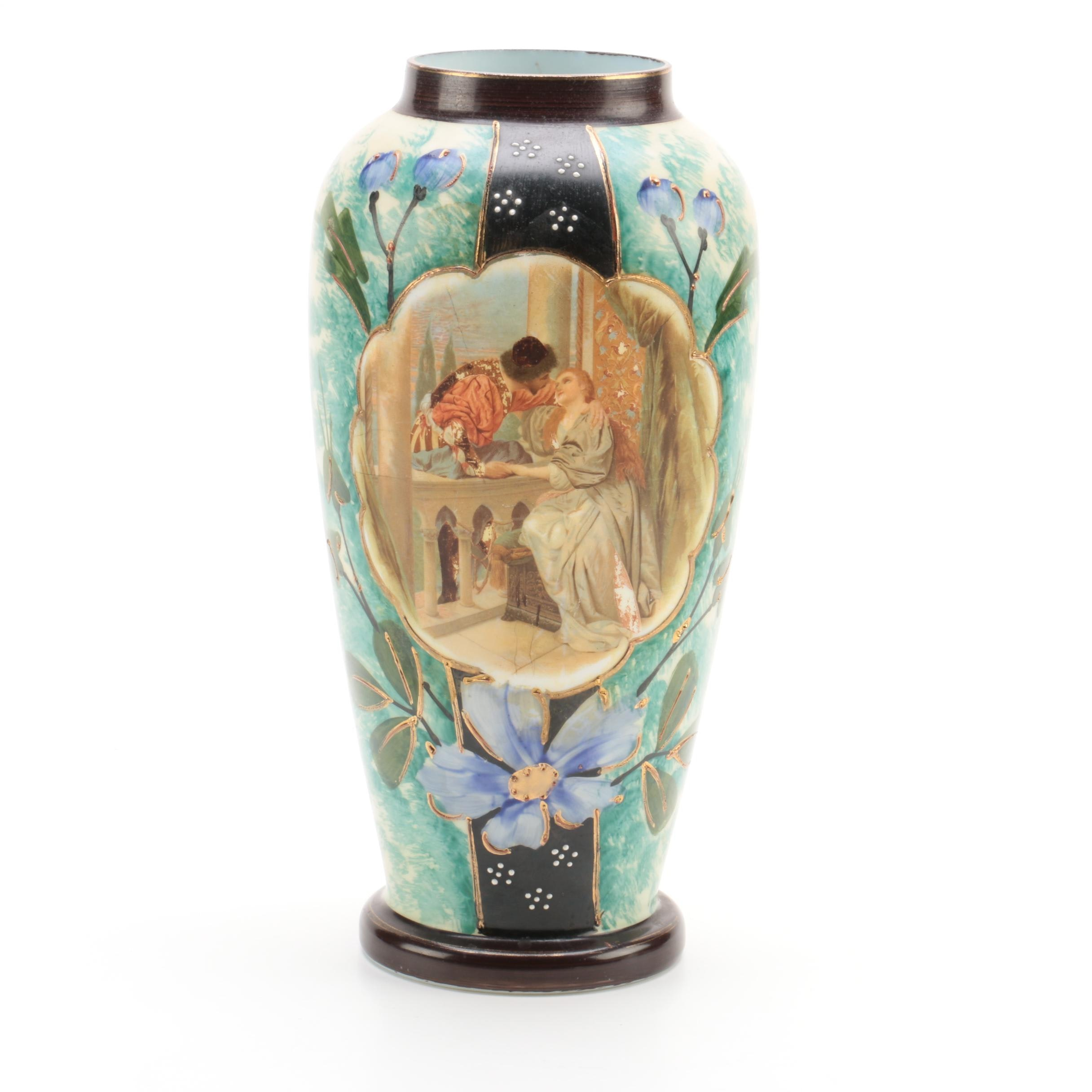 Austrian Painted Glass Vase with Shakespearian Imagery