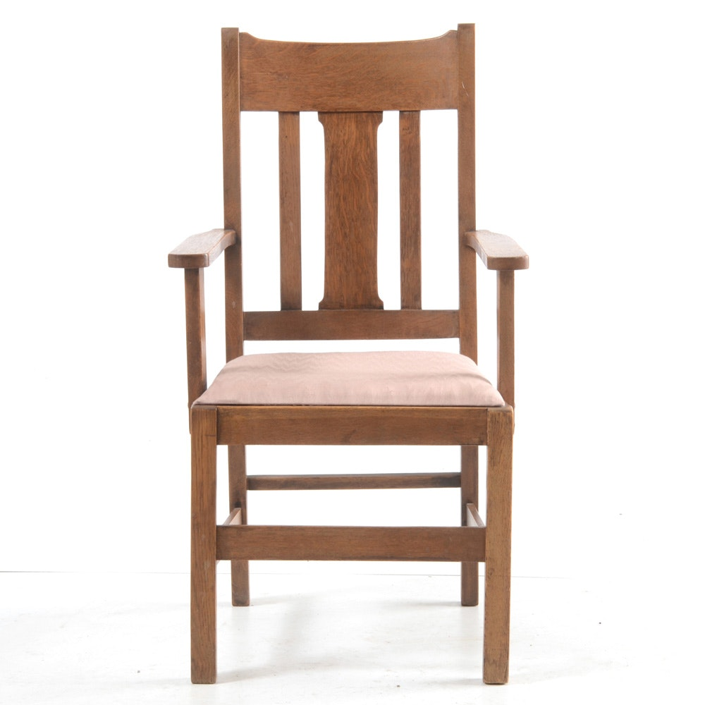 Vintage Arts and Crafts Oak Arm Chair