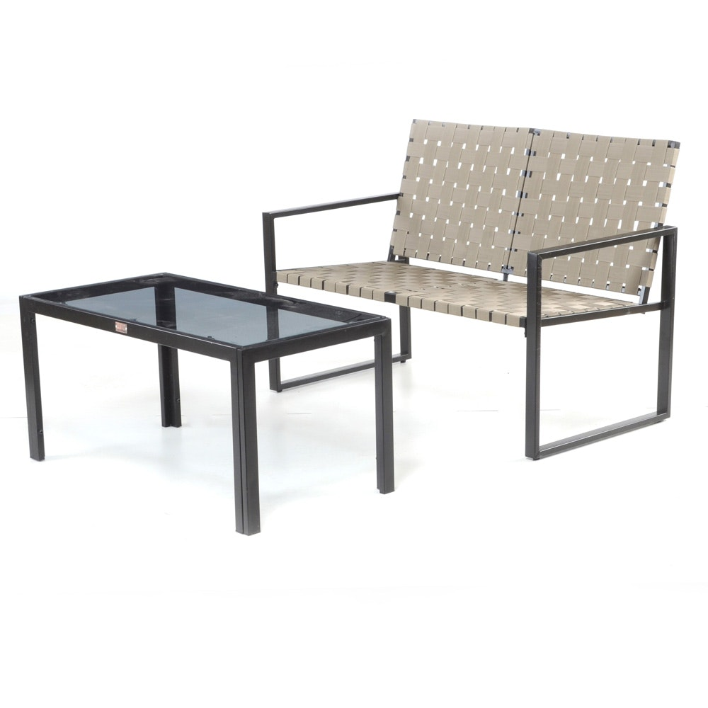 Rio Creations Metro Weave Outdoor Loveseat and Coffee Table