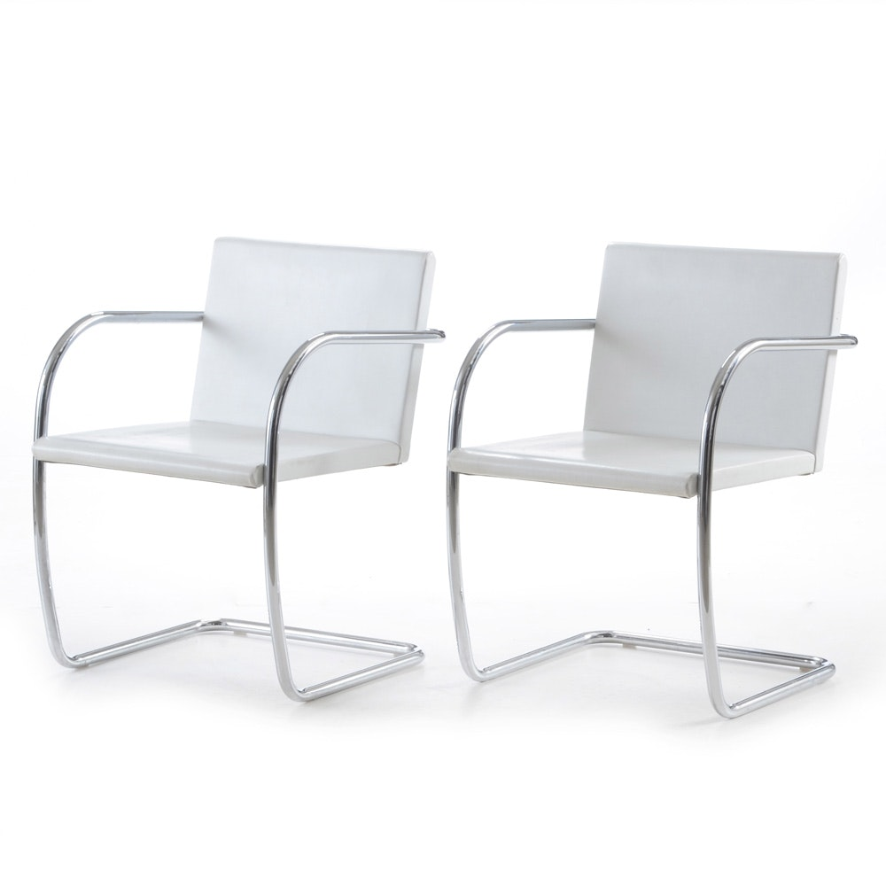 Pair of Mid Century Modern Knoll Brno Tubular Style Chairs