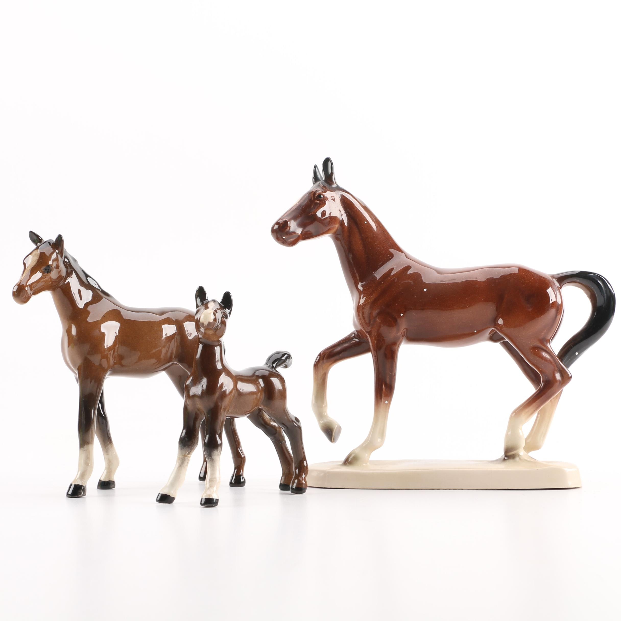 Hand-Painted Porcelain Horse Figurines