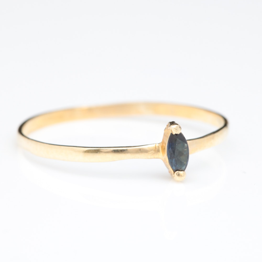 14K Yellow Gold and Marquise Blue Sapphire Solitaire Ring