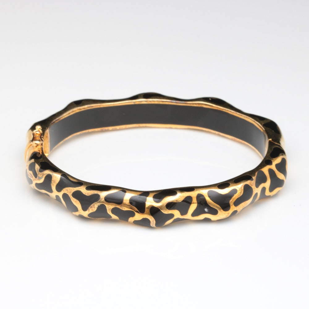 Andrew Hamilton Crawford Gold Wash on Sterling and Black Resin Bangle